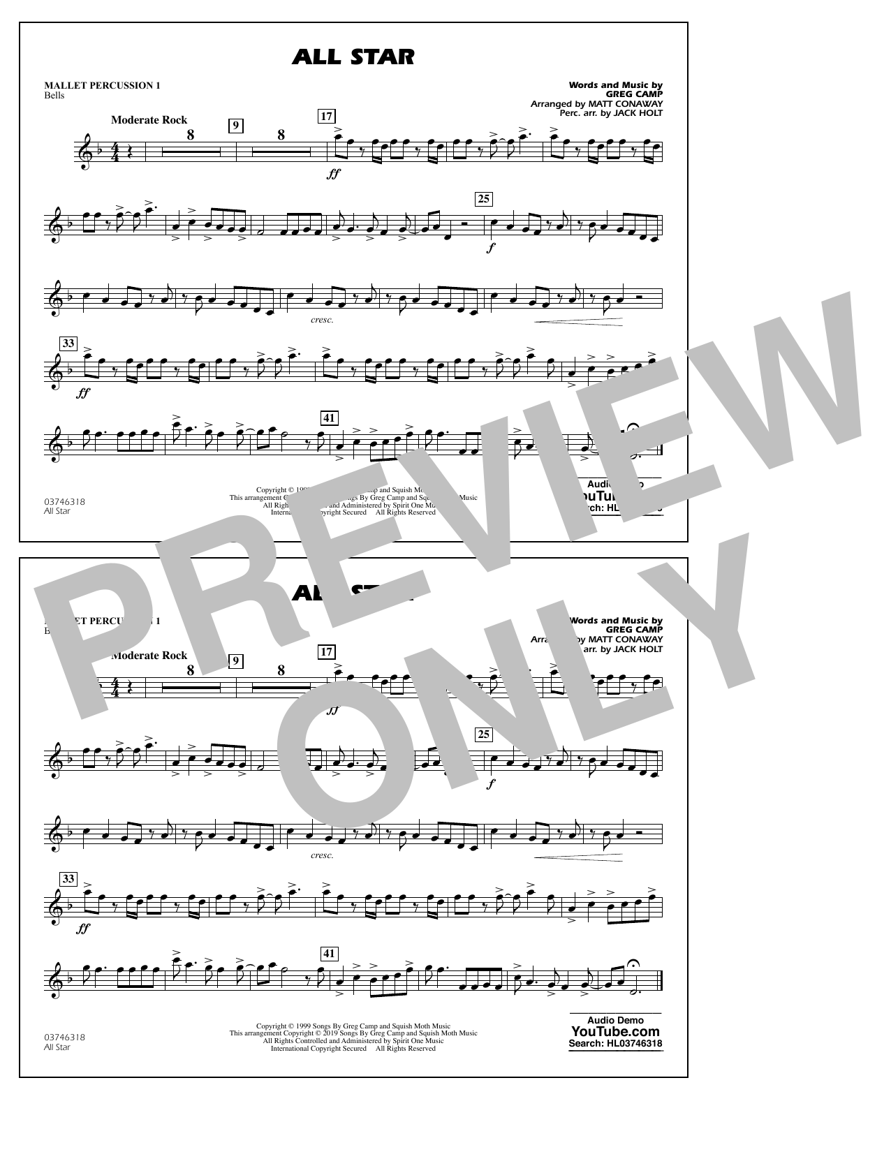 All Star (arr. Matt Conaway) - Mallet Percussion 1 (Marching Band)