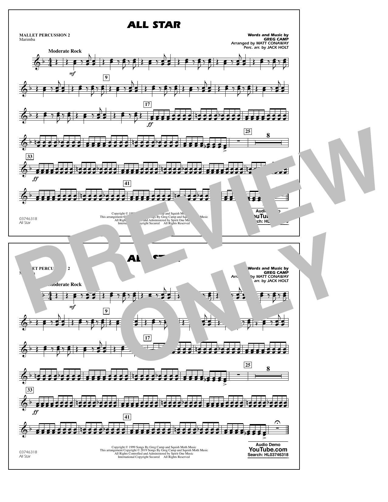 All Star (arr. Matt Conaway) - Mallet Percussion 2 (Marching Band)