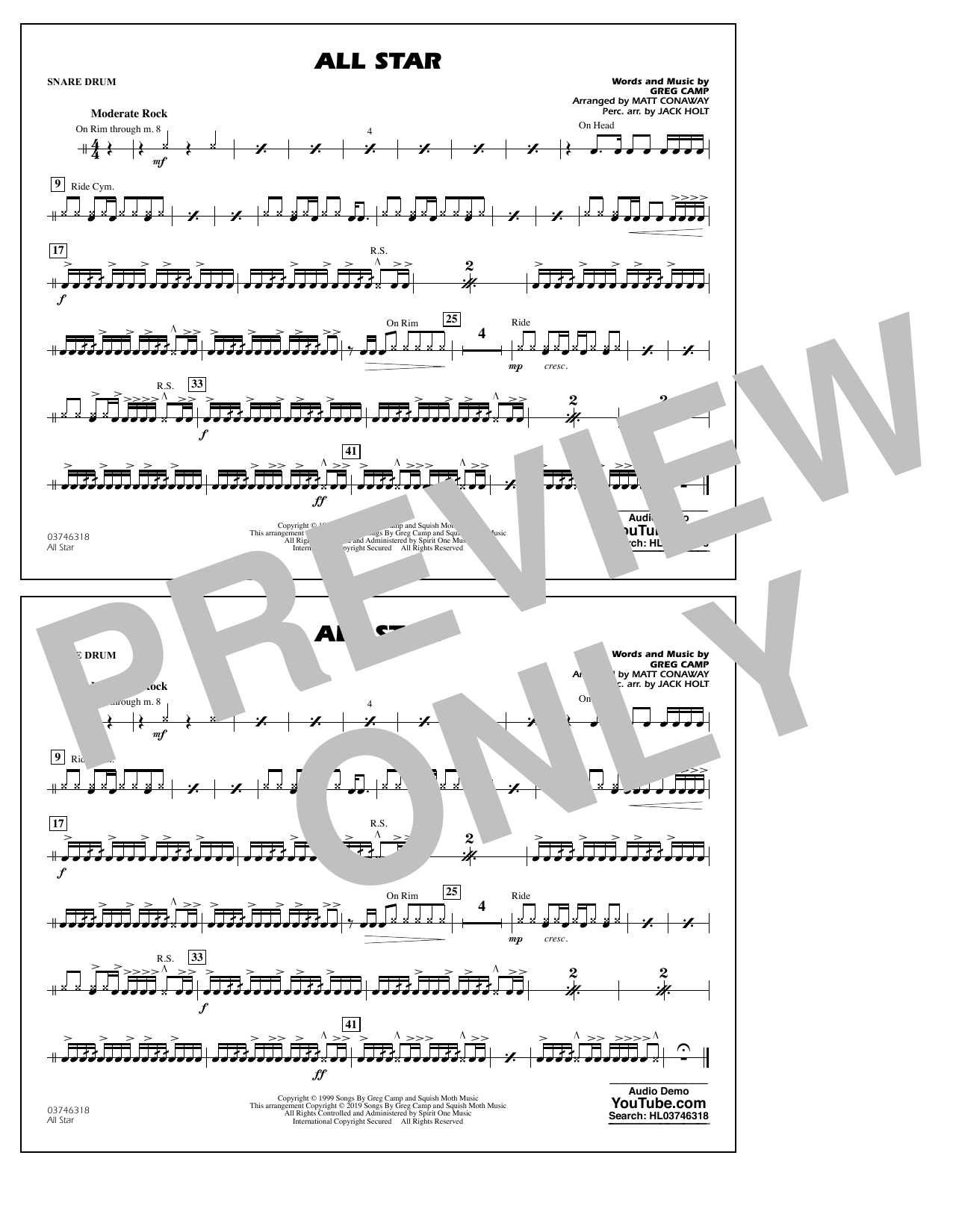 All Star (arr. Matt Conaway) - Snare Drum (Marching Band)