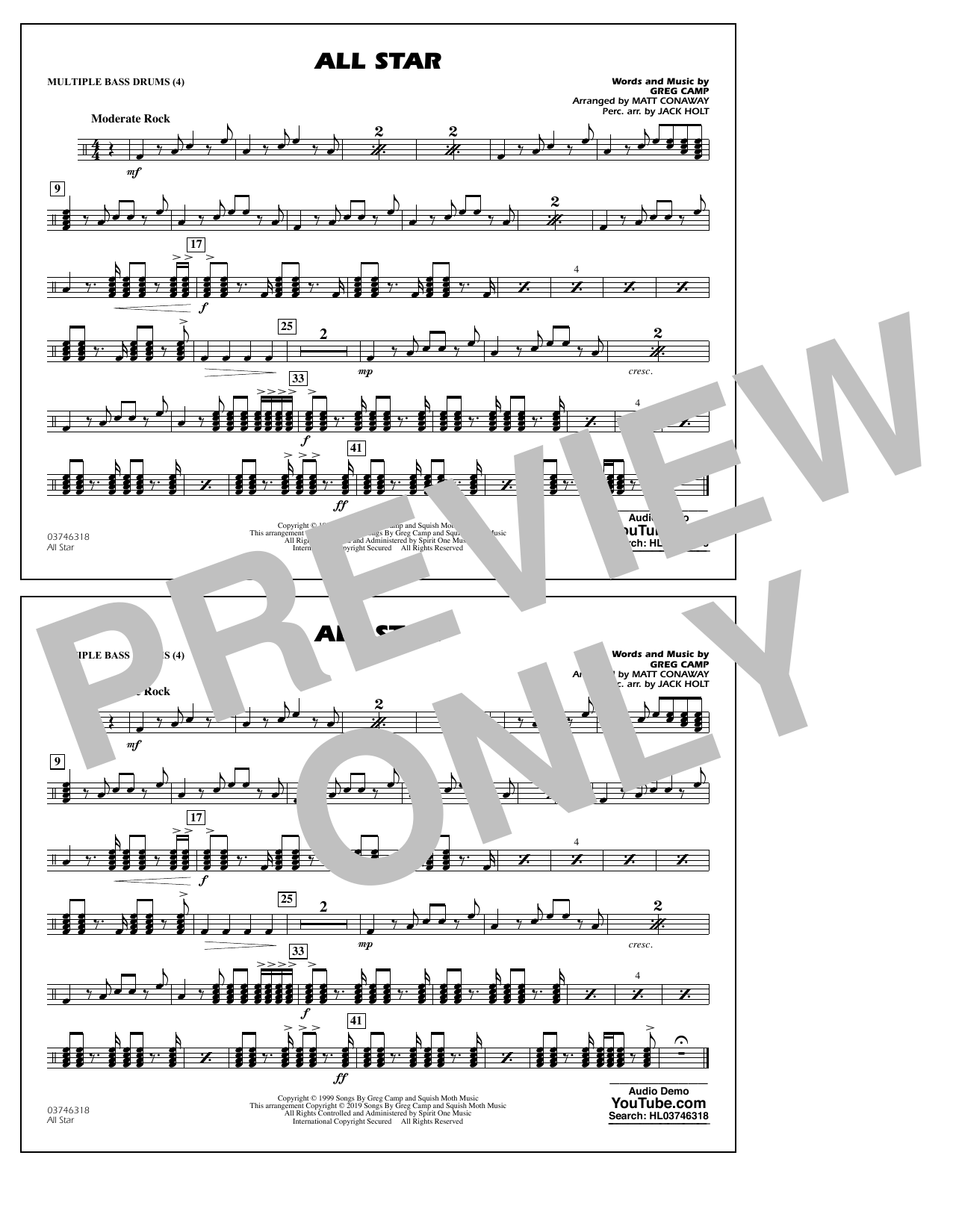 All Star Arr Matt Conaway Multiple Bass Drums By Smash Mouth Marching Band Digital Sheet Music
