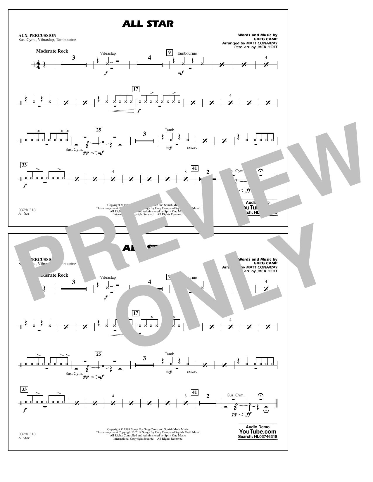 All Star (arr. Matt Conaway) - Aux Percussion (Marching Band)