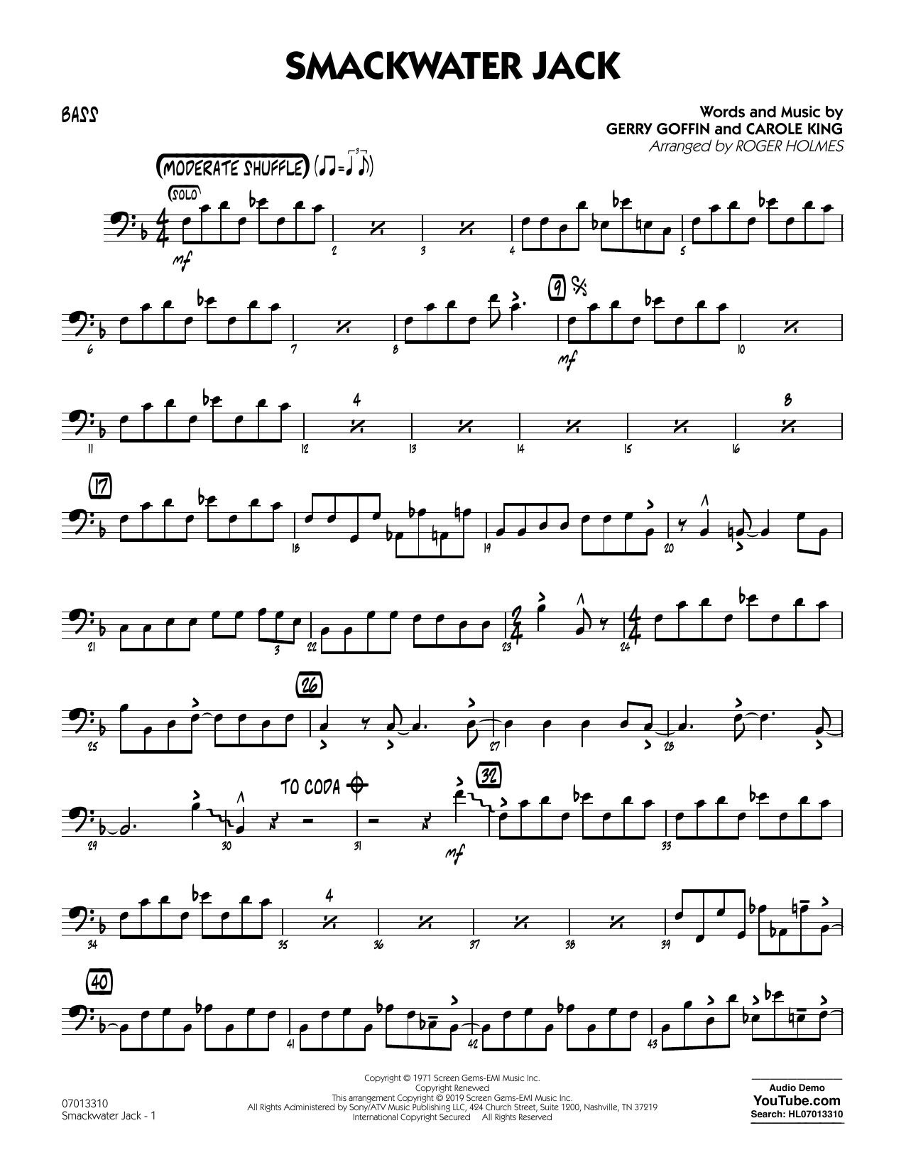 Smackwater Jack (arr. Roger Holmes) - Bass (Jazz Ensemble)