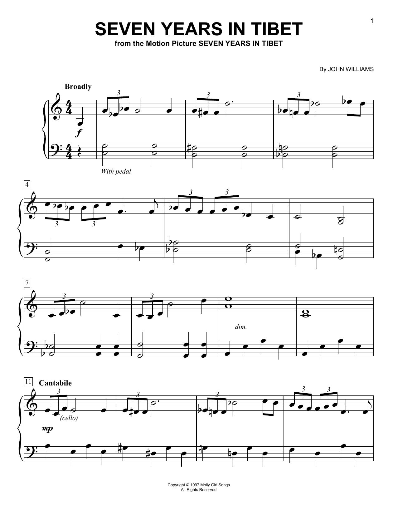 Seven Years In Tibet (Easy Piano)