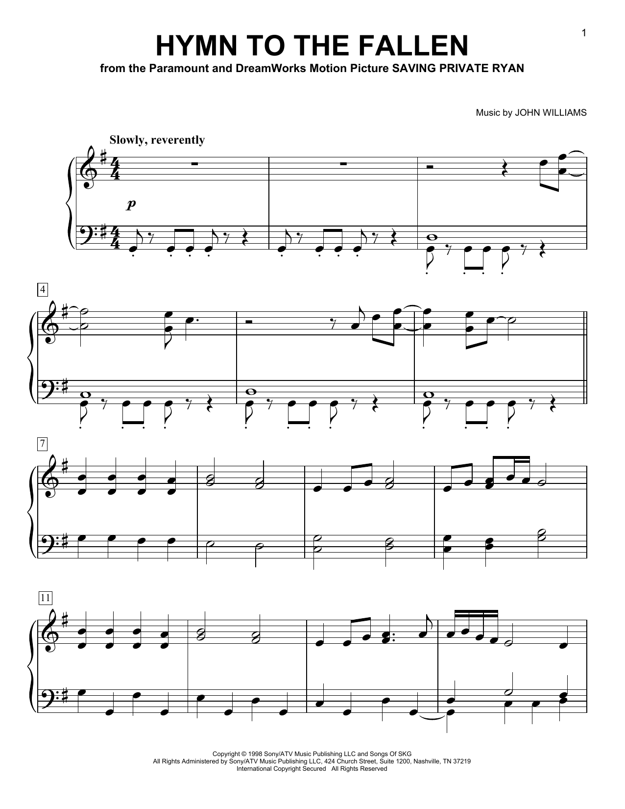 Hymn To The Fallen (from Saving Private Ryan) (Easy Piano)