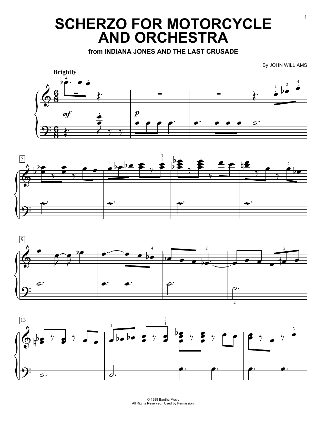 Scherzo For Motorcycle And Orchestra (from Indiana Jones) (Easy Piano)