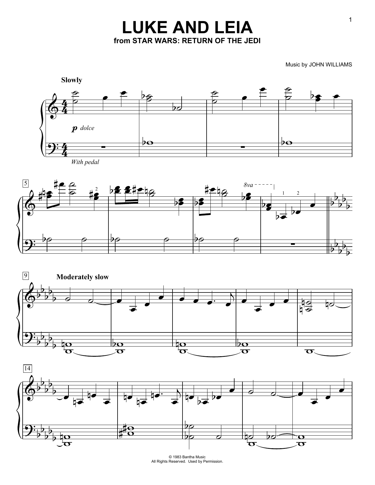 Luke And Leia (from Star Wars: Return of the Jedi) (Easy Piano)