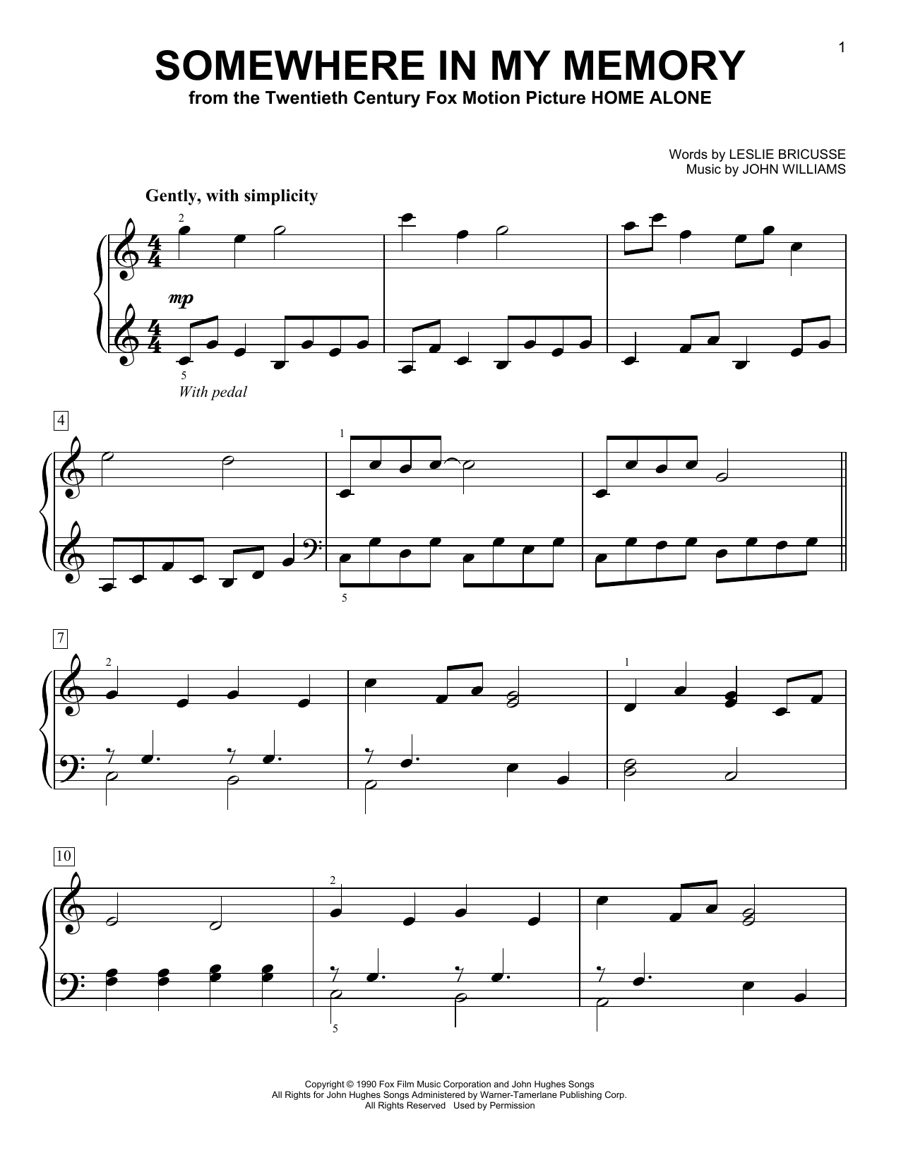 Somewhere In My Memory (from Home Alone) (Easy Piano)