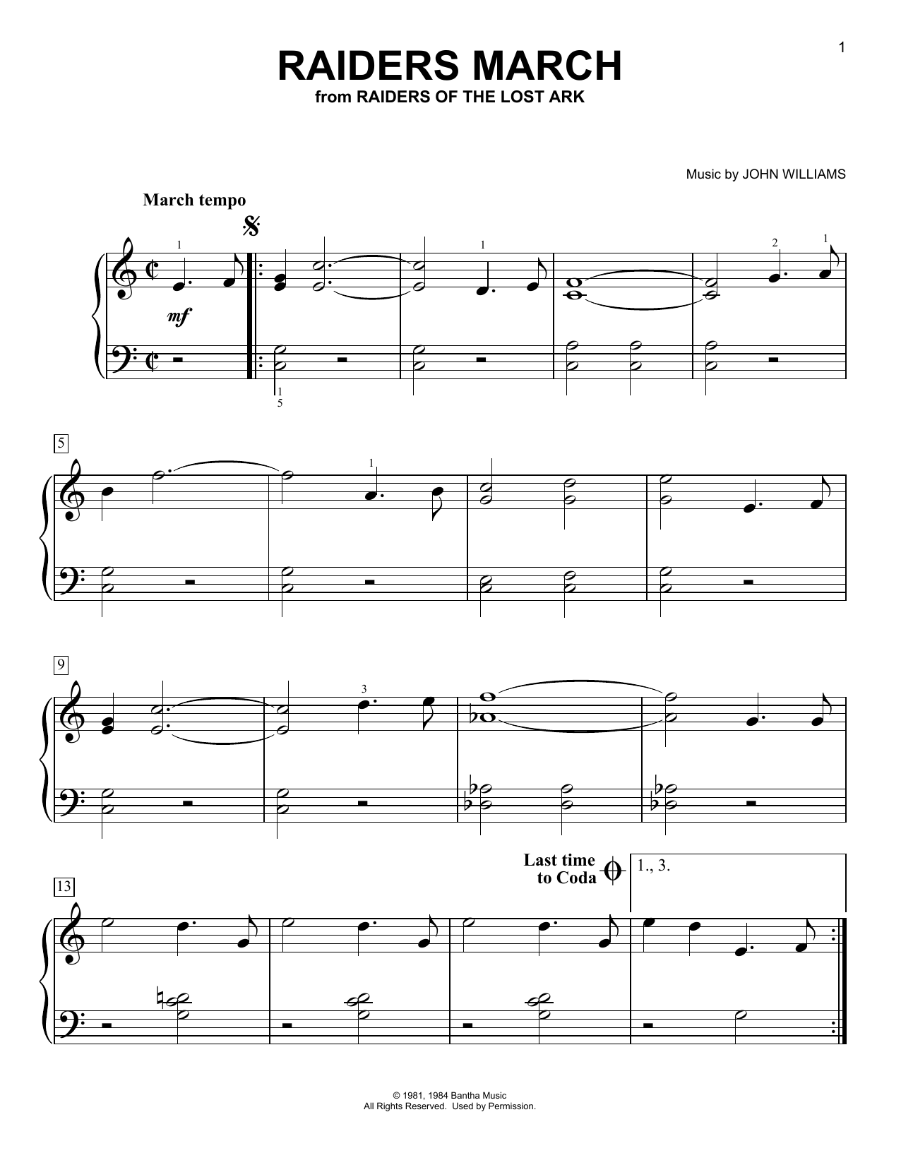 Raiders March (from Raiders of The Lost Ark) (Easy Piano)