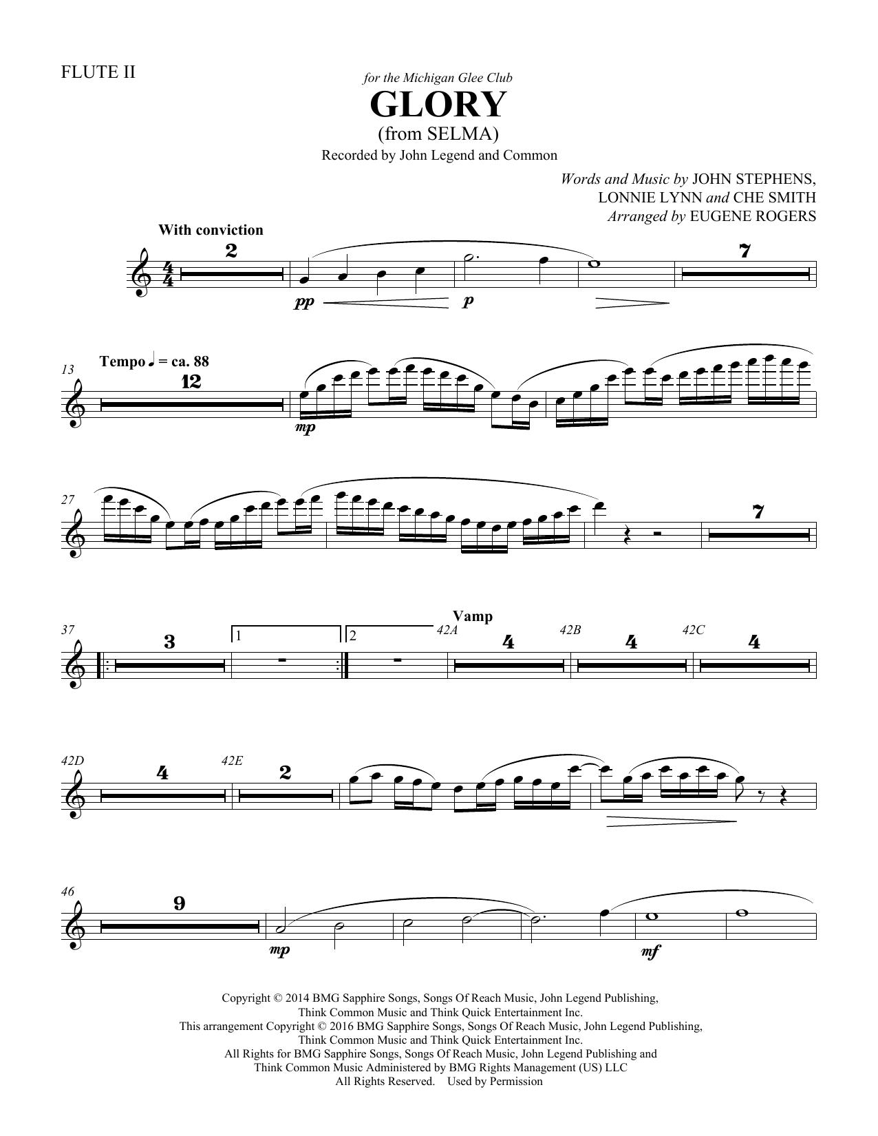 Glory (from Selma) (arr. Eugene Rogers) - Flute 2 (Choir Instrumental Pak)