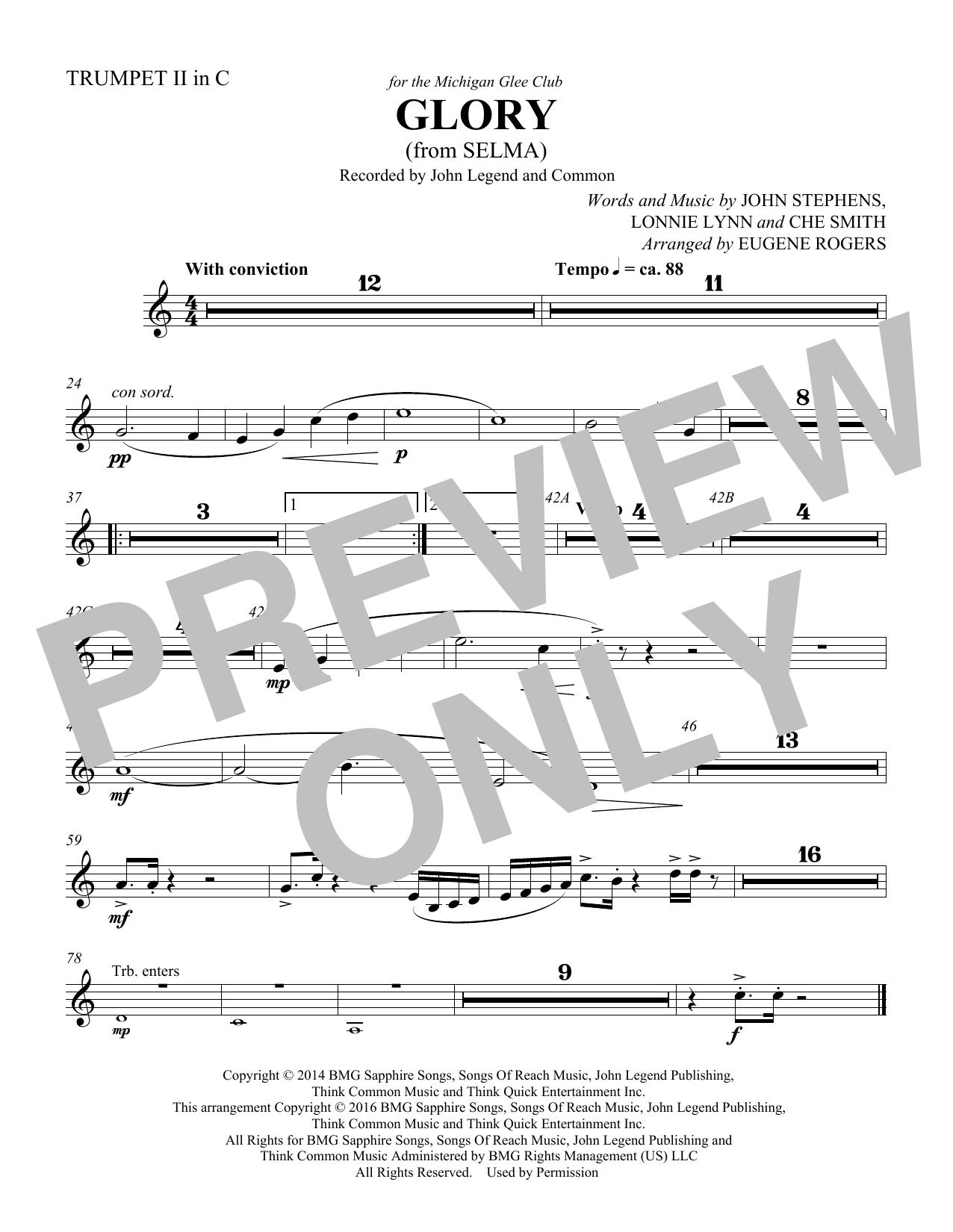Glory (from Selma) (arr. Eugene Rogers) - Trumpet 2 in C (Choir Instrumental Pak)