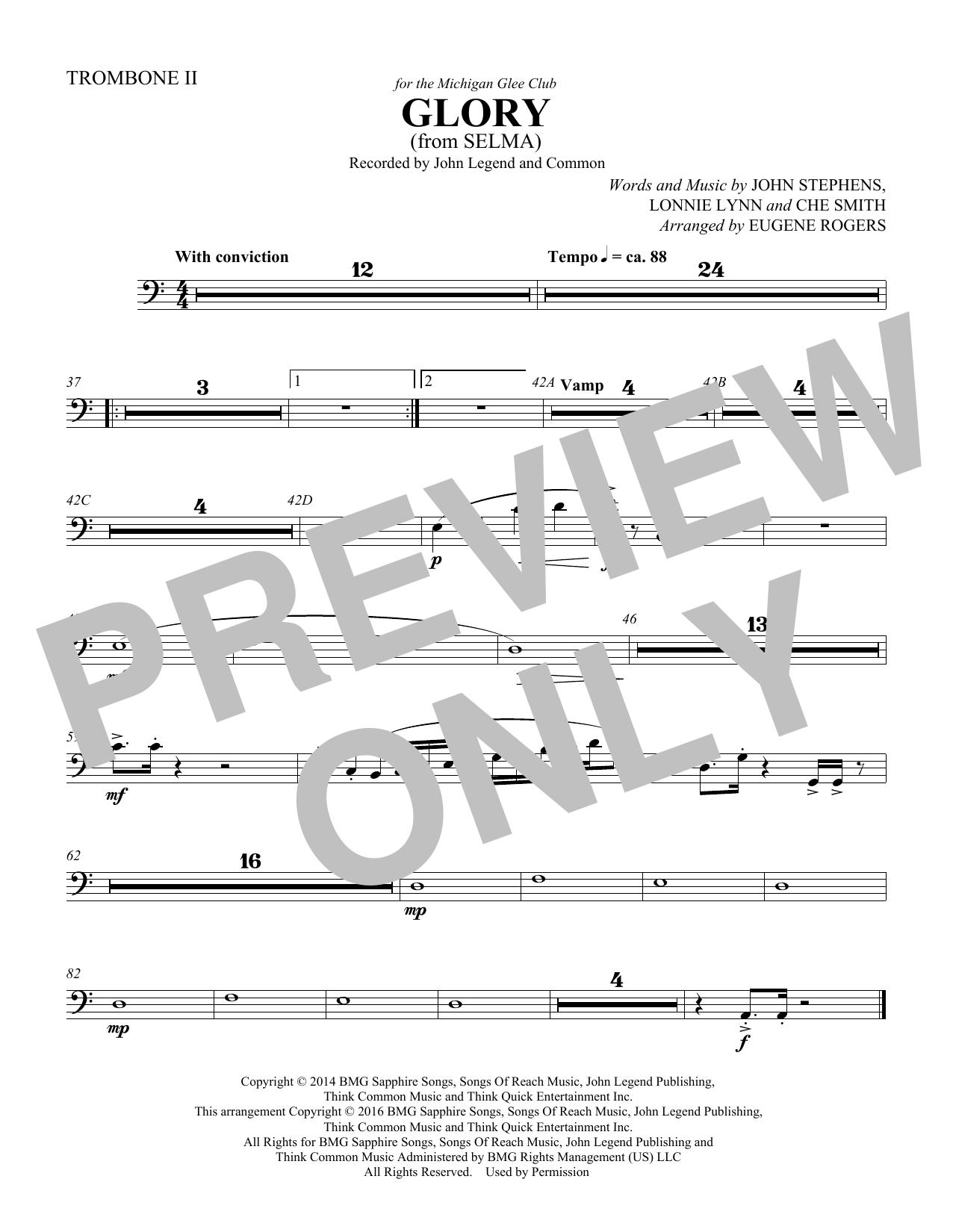 Glory (from Selma) (arr. Eugene Rogers) - Trombone 2 (Choir Instrumental Pak)