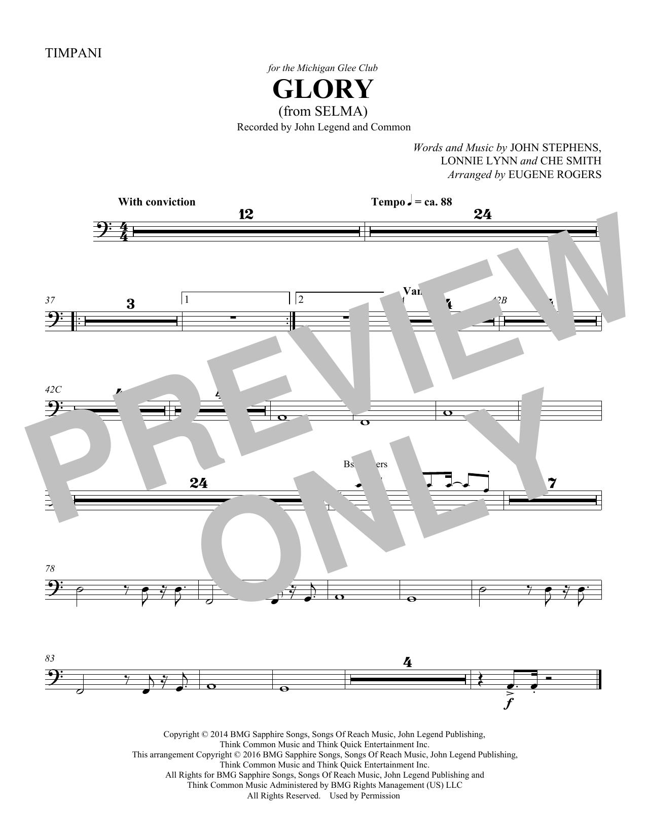 Glory (from Selma) (arr. Eugene Rogers) - Timpani (Choir Instrumental Pak)
