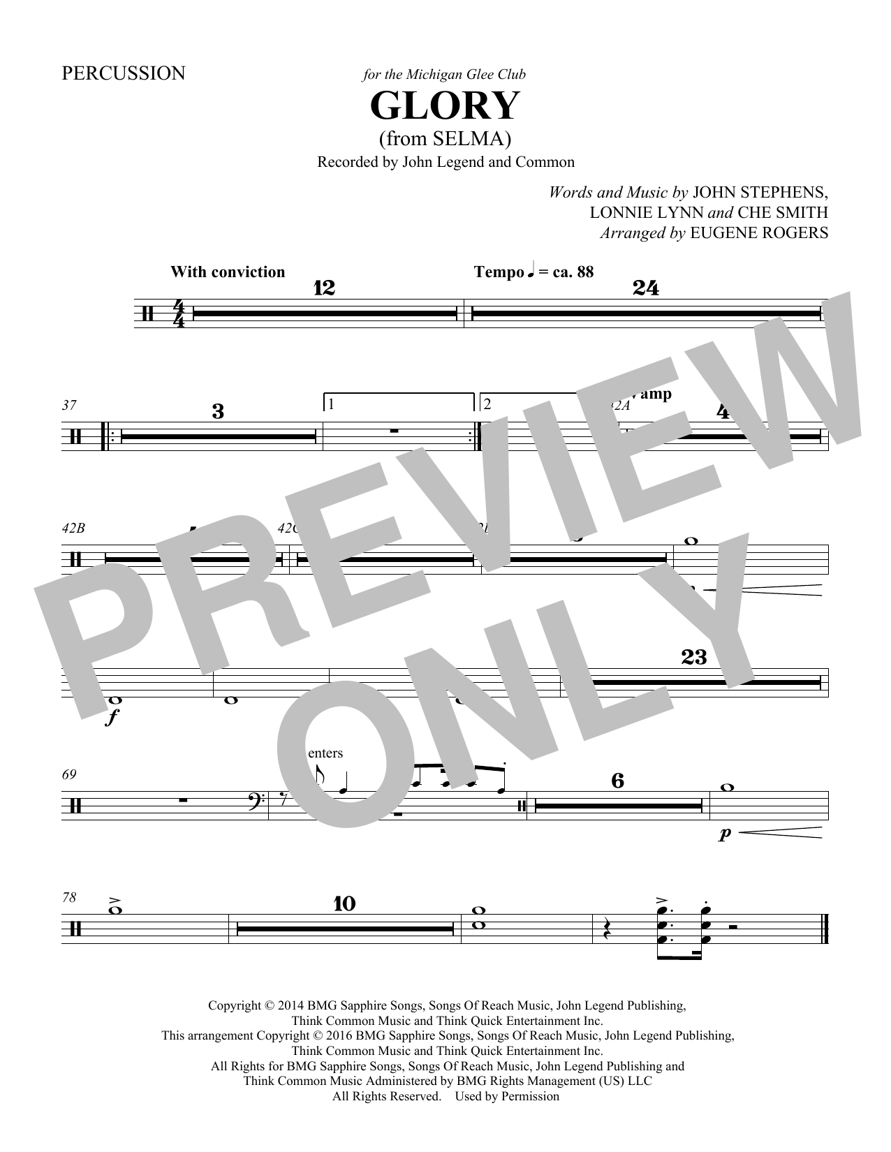 Glory (from Selma) (arr. Eugene Rogers) - Percussion (Choir Instrumental Pak)