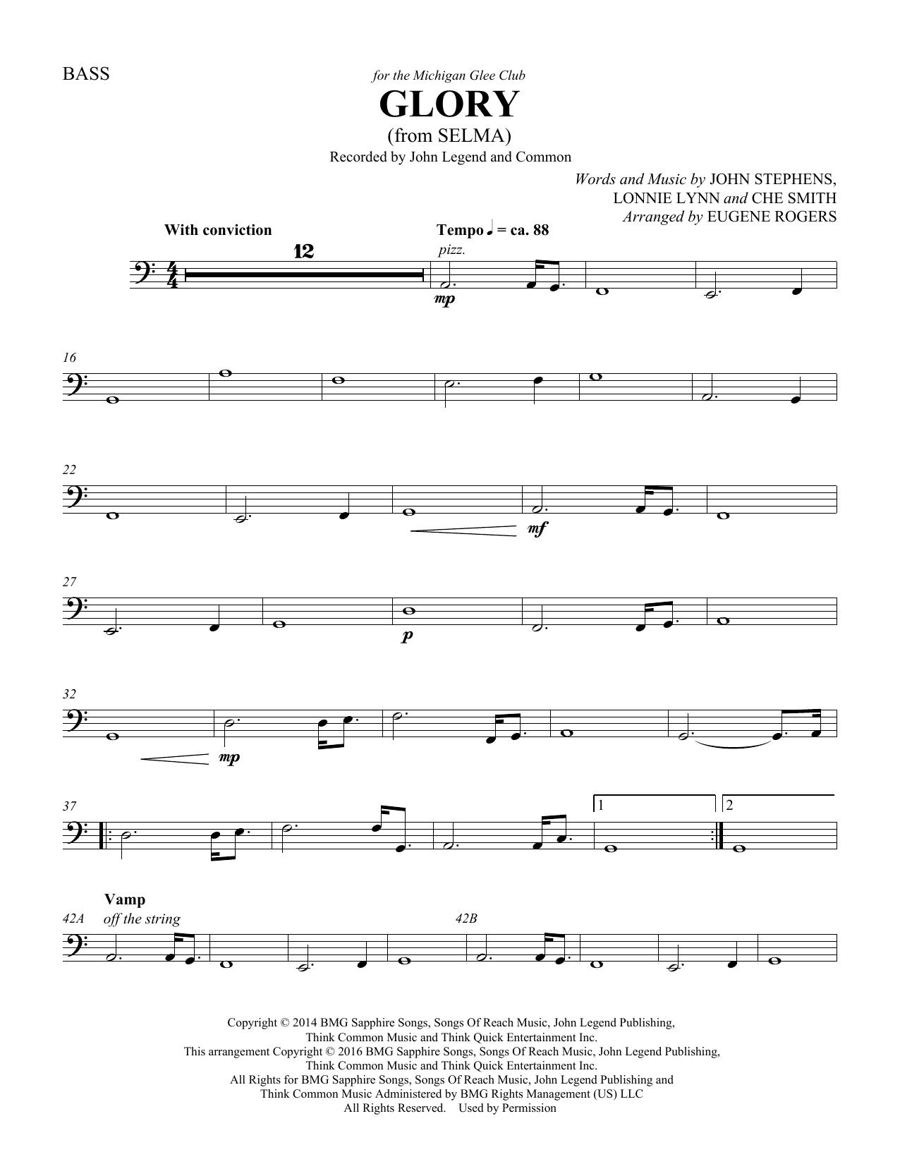 Glory (from Selma) (arr. Eugene Rogers) - Double Bass (Choir Instrumental Pak)