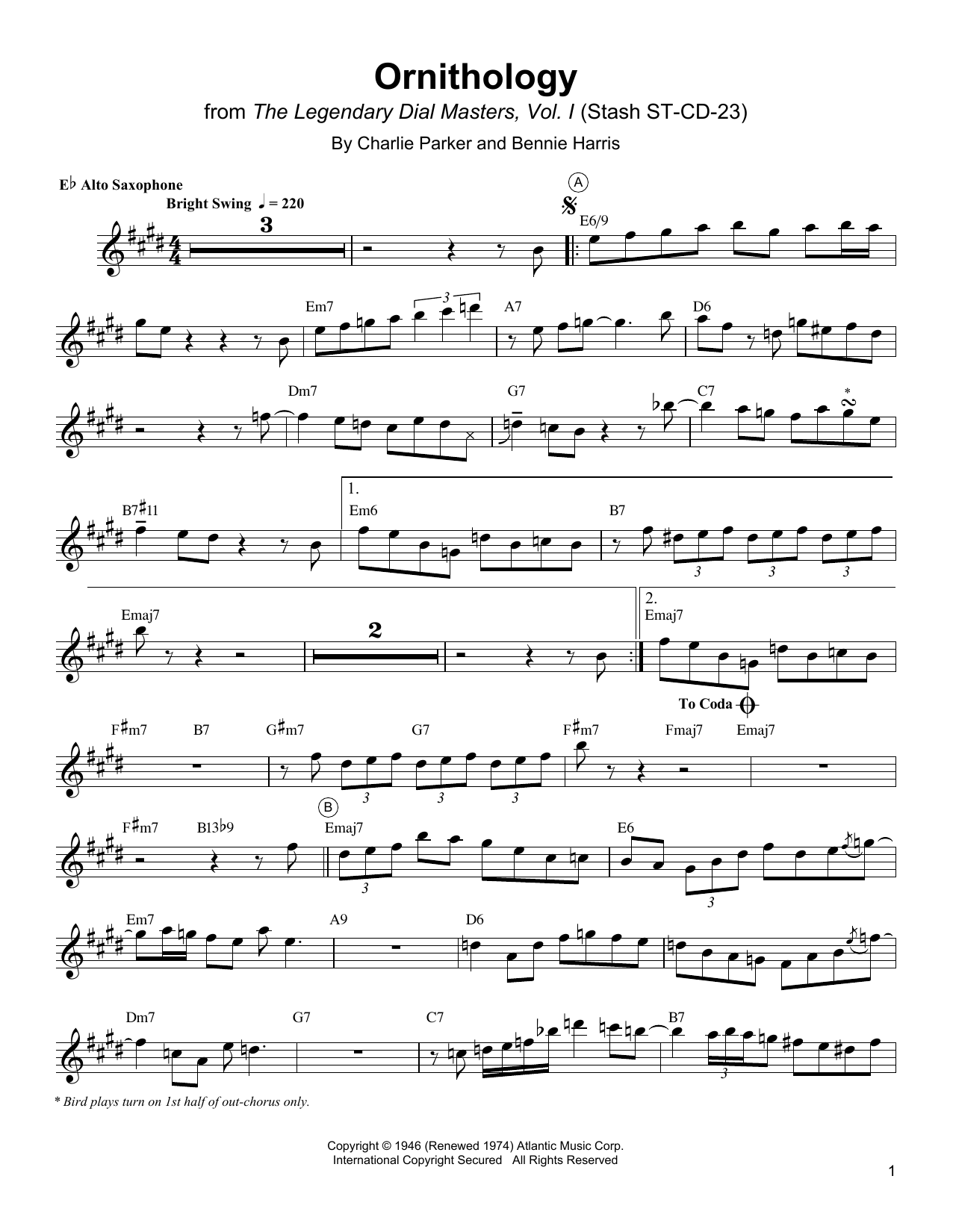 Ornithology (Alto Sax Transcription)