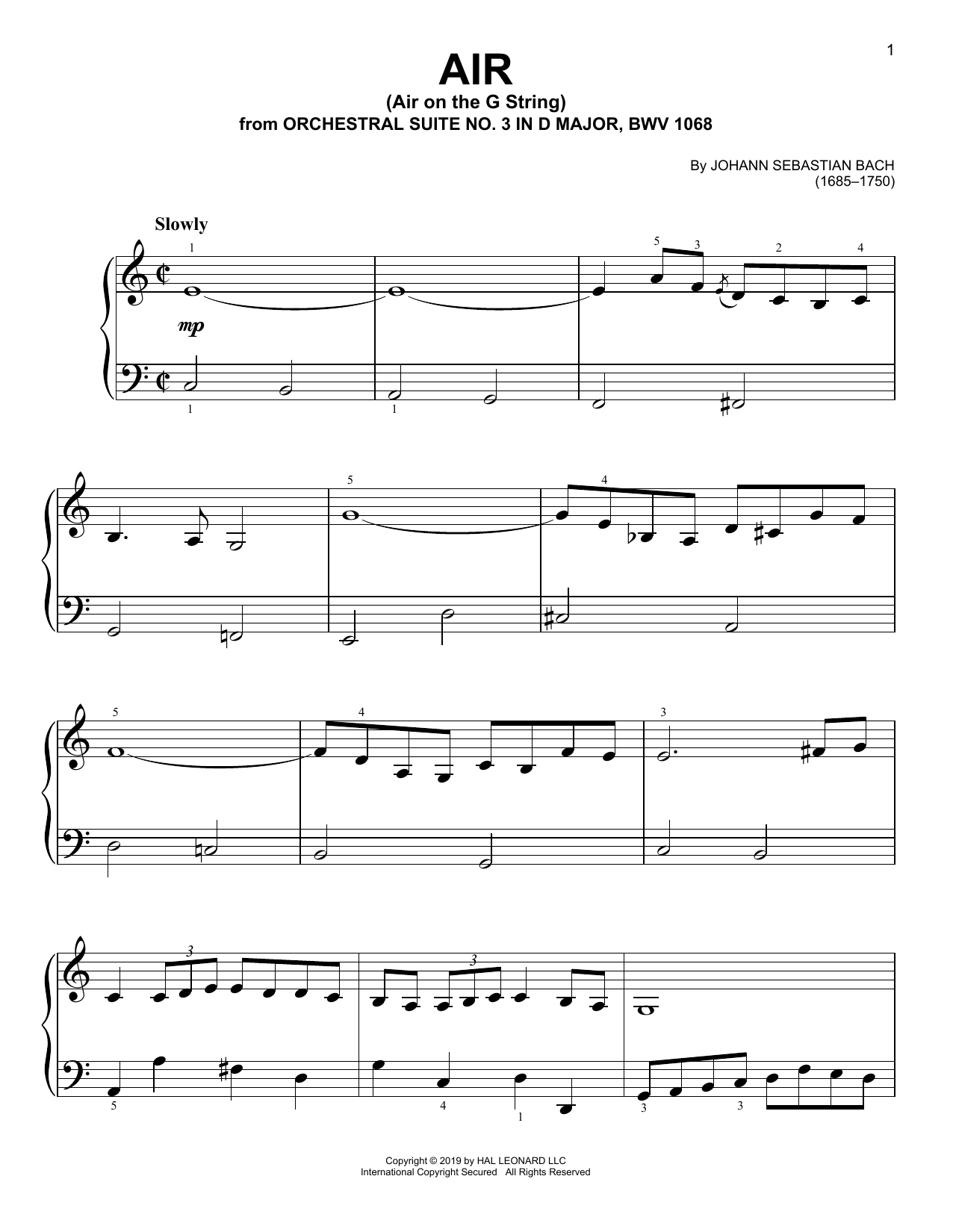 Air (Air On The G String) (Easy Piano)