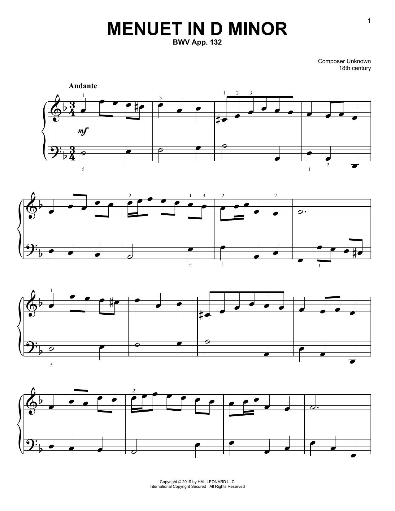 Menuet In D Minor, BWV App. 132 (Easy Piano)