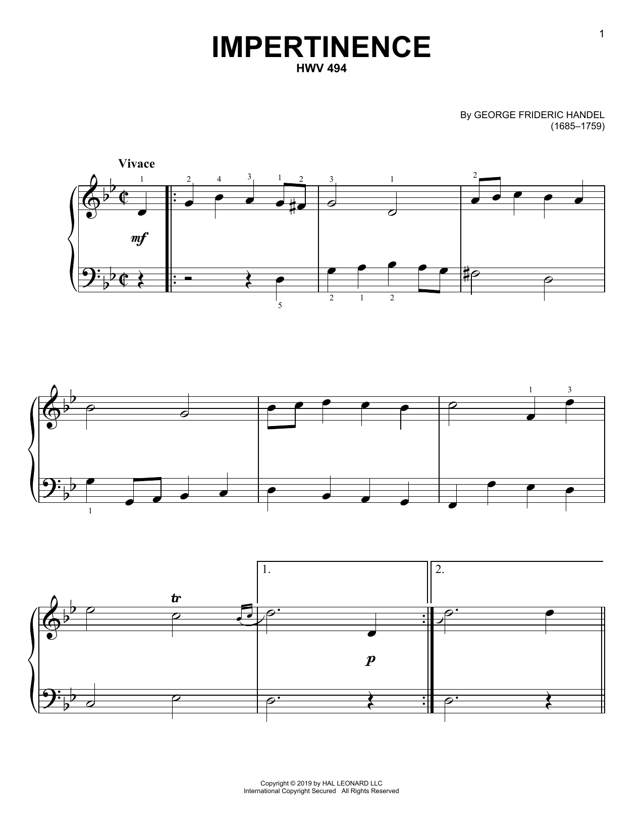 Impertinence, HWV 494 (Easy Piano)