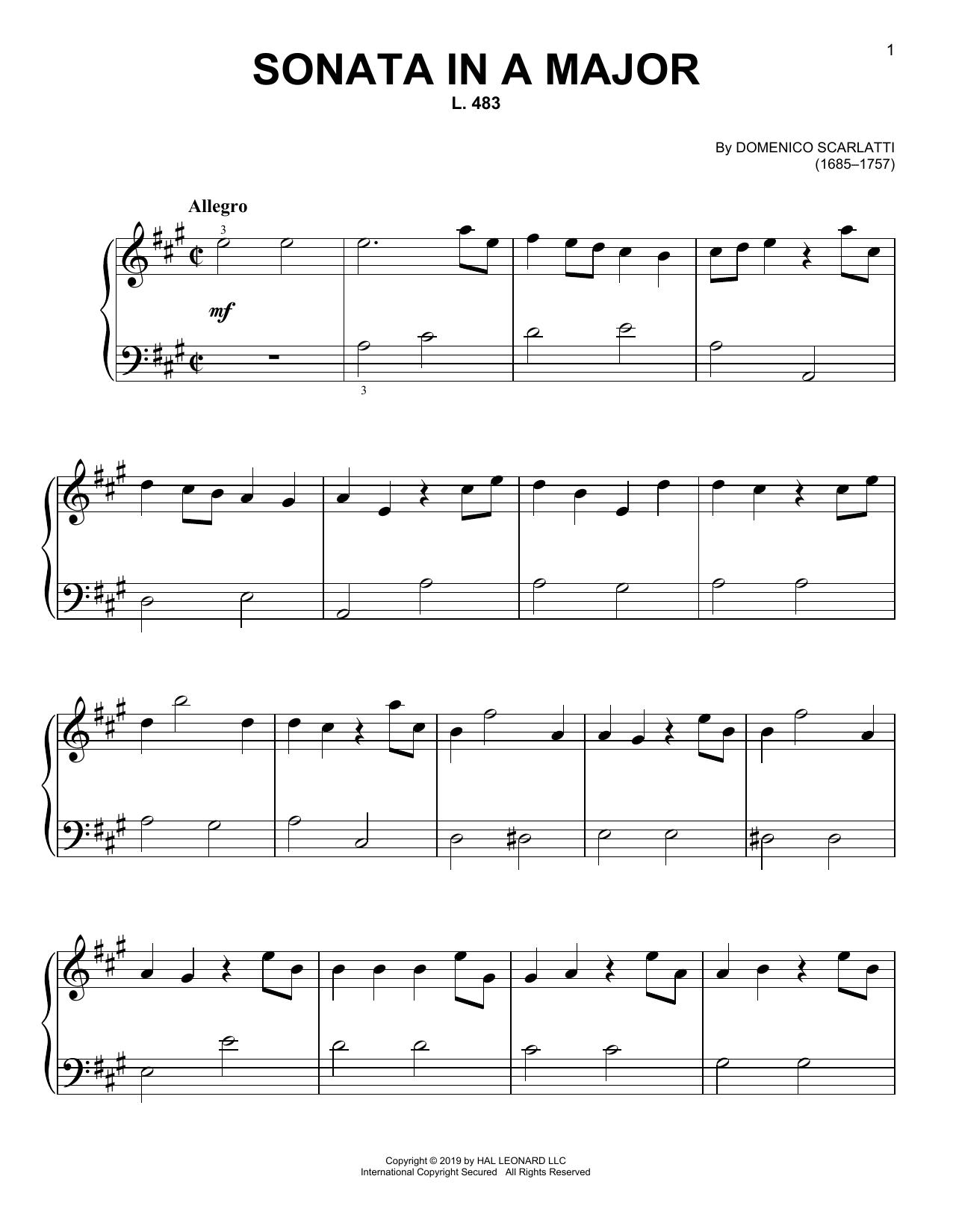 Sonata In A Major, L. 483 (Easy Piano)