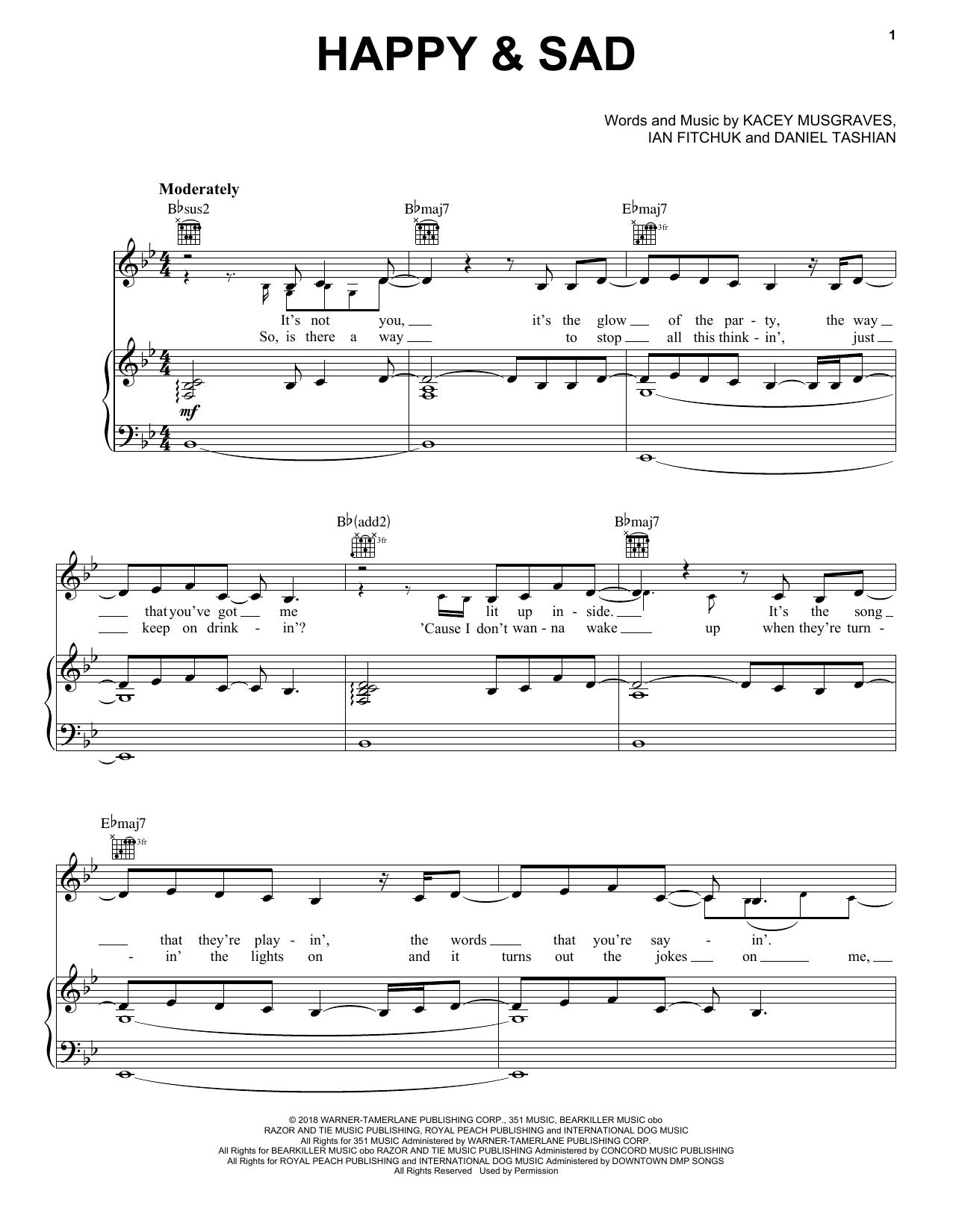 Happy & Sad (Piano, Vocal & Guitar (Right-Hand Melody))