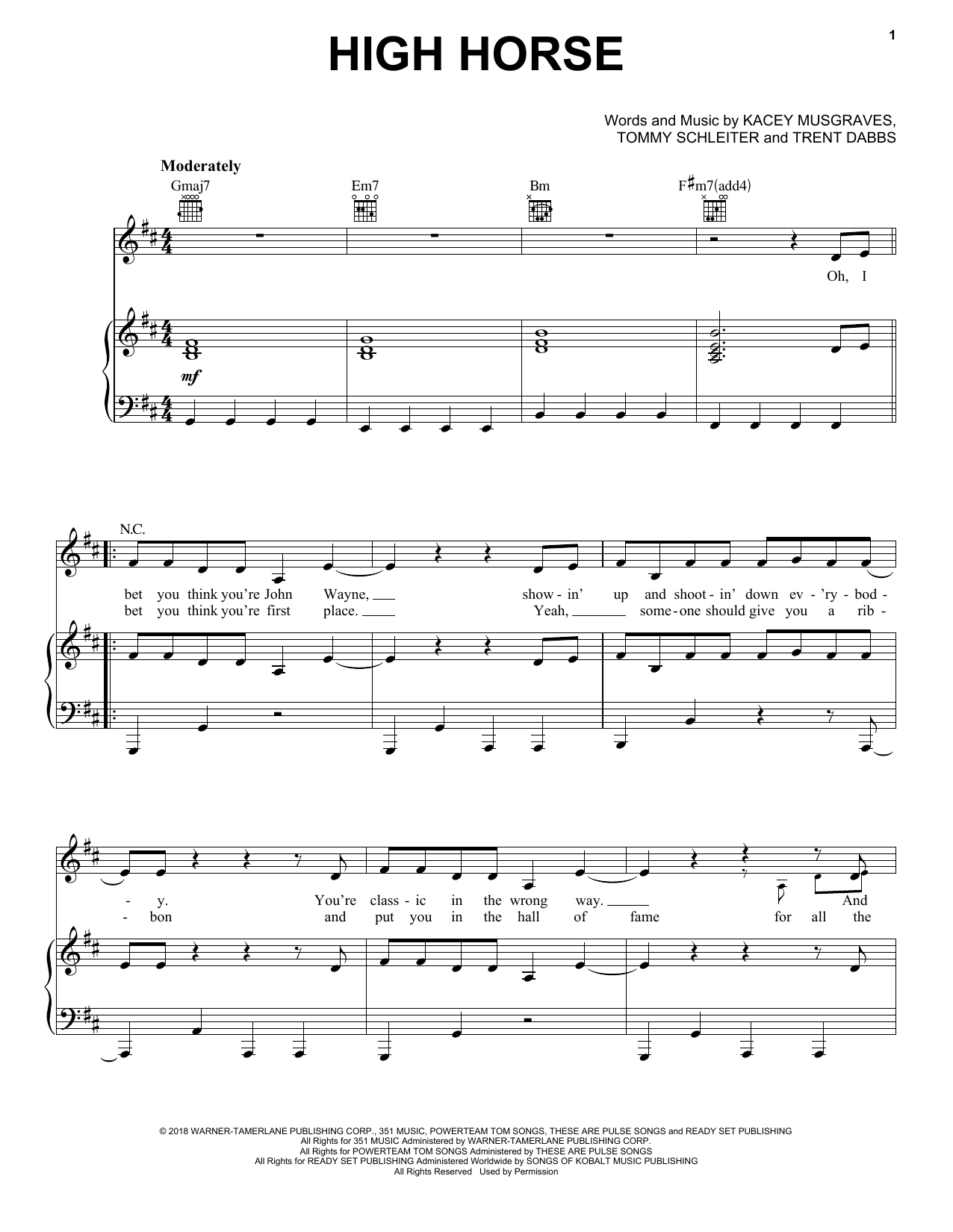 High Horse (Piano, Vocal & Guitar (Right-Hand Melody))