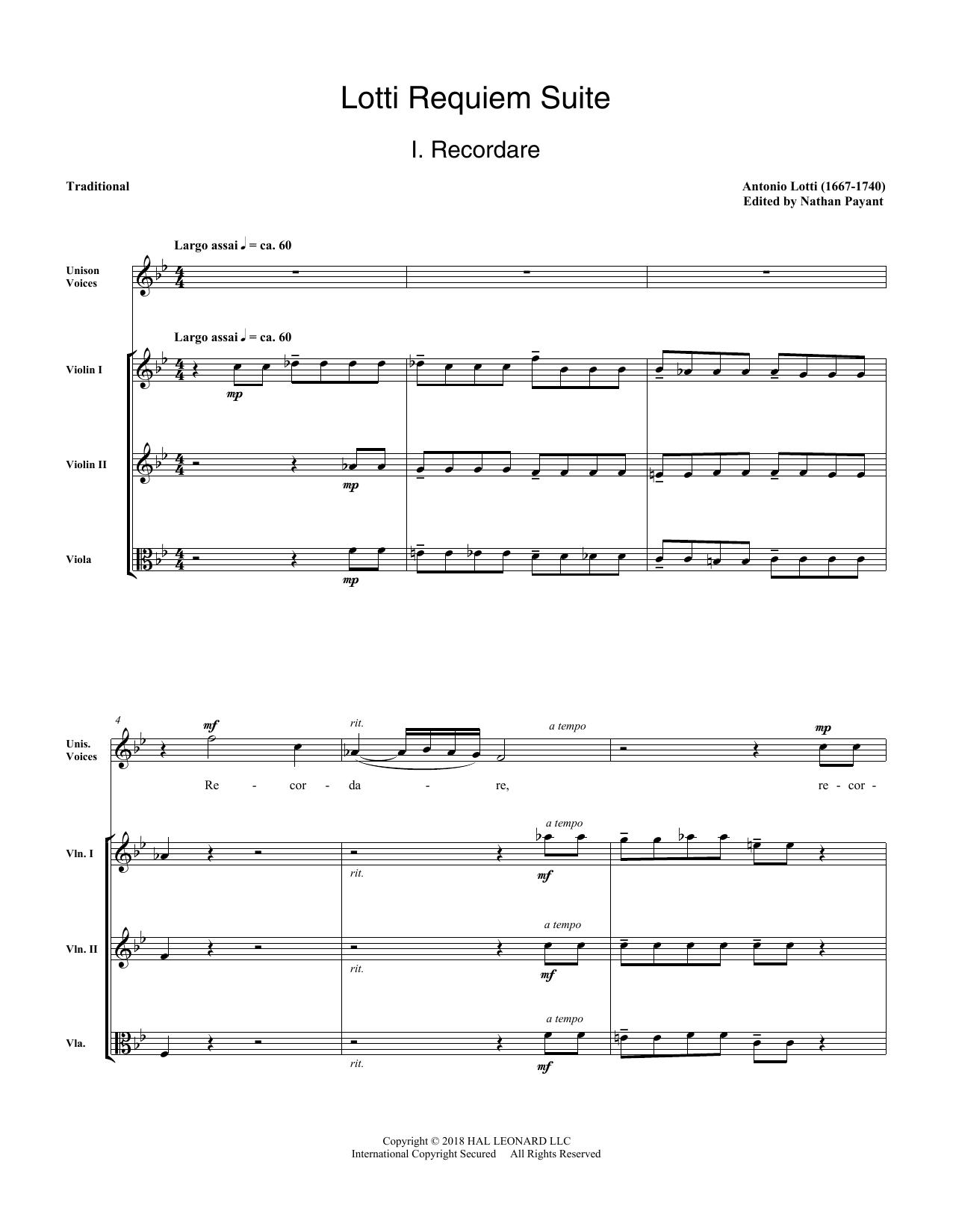 Lotti Requiem Suite (arr. Natahn Payant) - Score (Choir Instrumental Pak)