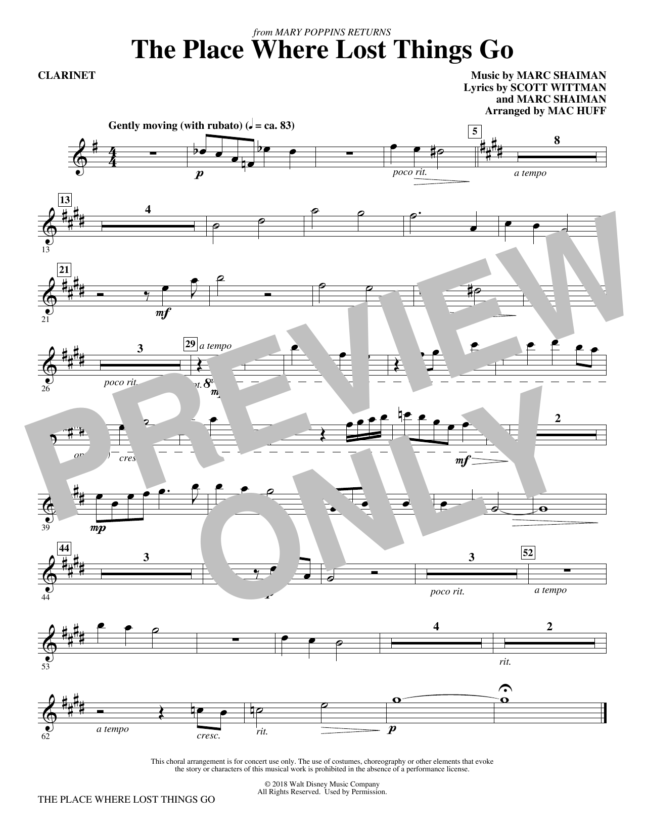 The Place Where Lost Things Go (from Mary Poppins Returns) (arr. Mac Huff) - Clarinet (Choir Instrumental Pak)