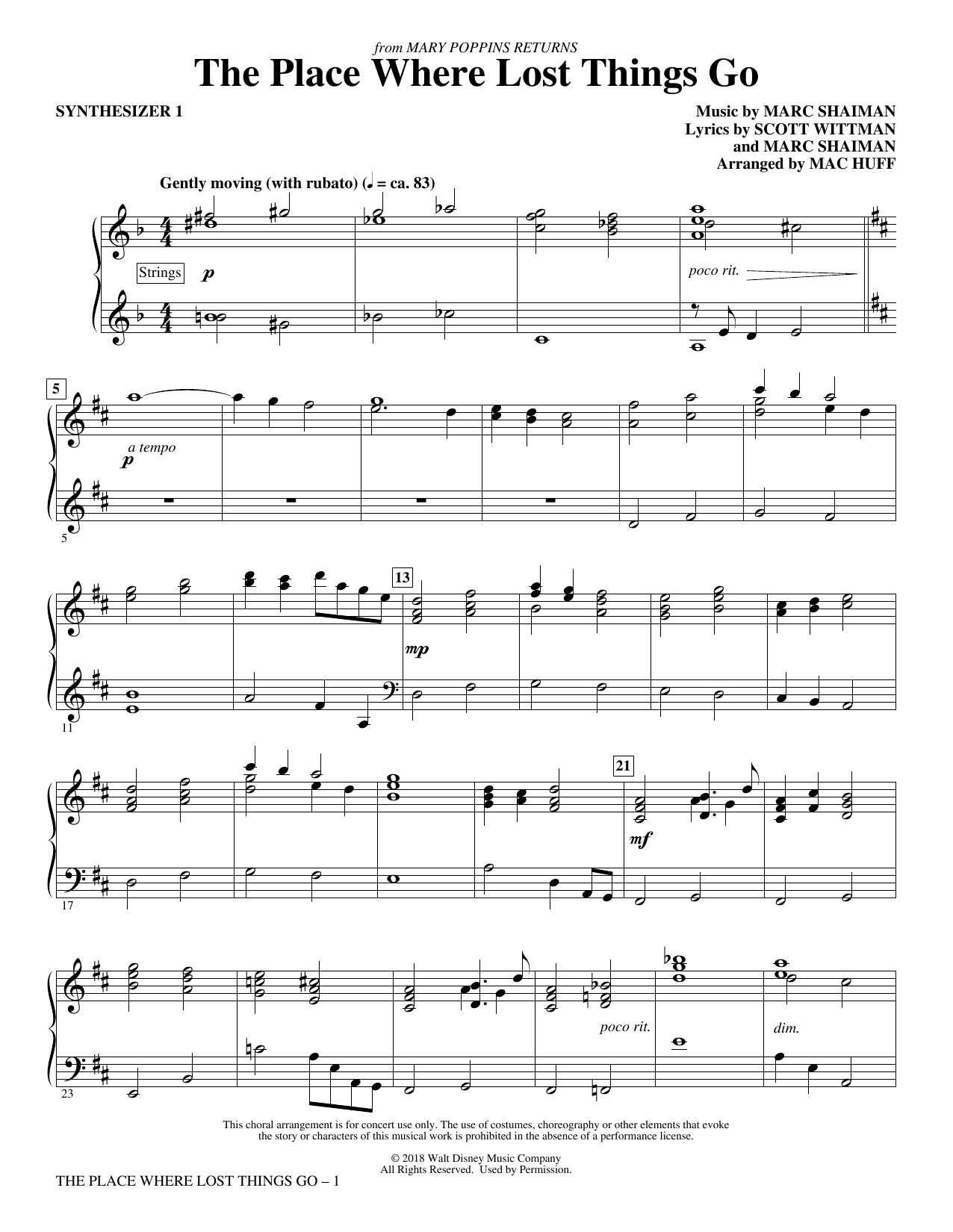 The Place Where Lost Things Go (from Mary Poppins Returns) (arr. Mac Huff) - Synthesizer I (Choir Instrumental Pak)