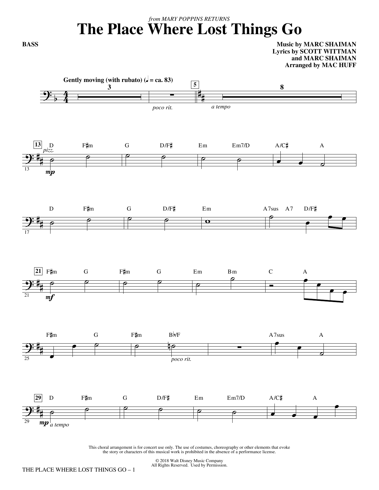 The Place Where Lost Things Go (from Mary Poppins Returns) (arr. Mac Huff) - Bass (Choir Instrumental Pak)