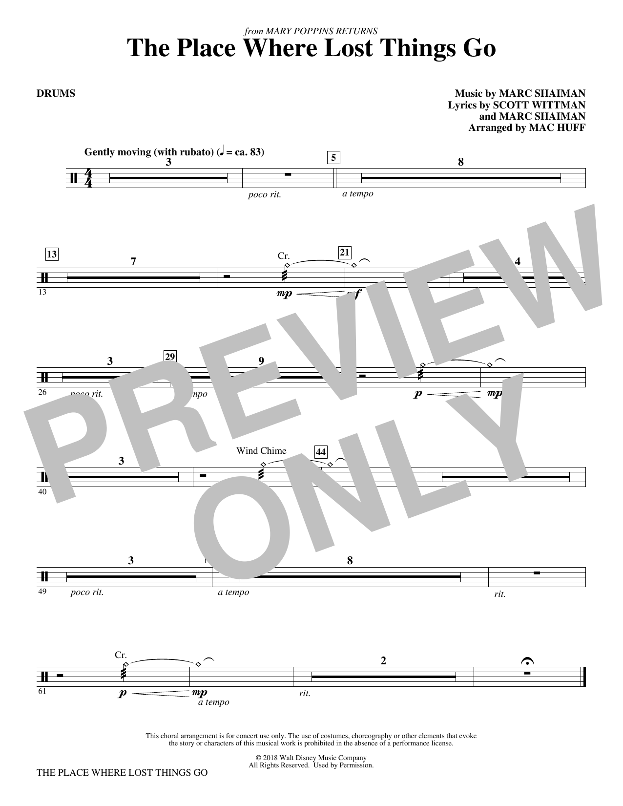 The Place Where Lost Things Go (from Mary Poppins Returns) (arr. Mac Huff) - Drums (Choir Instrumental Pak)