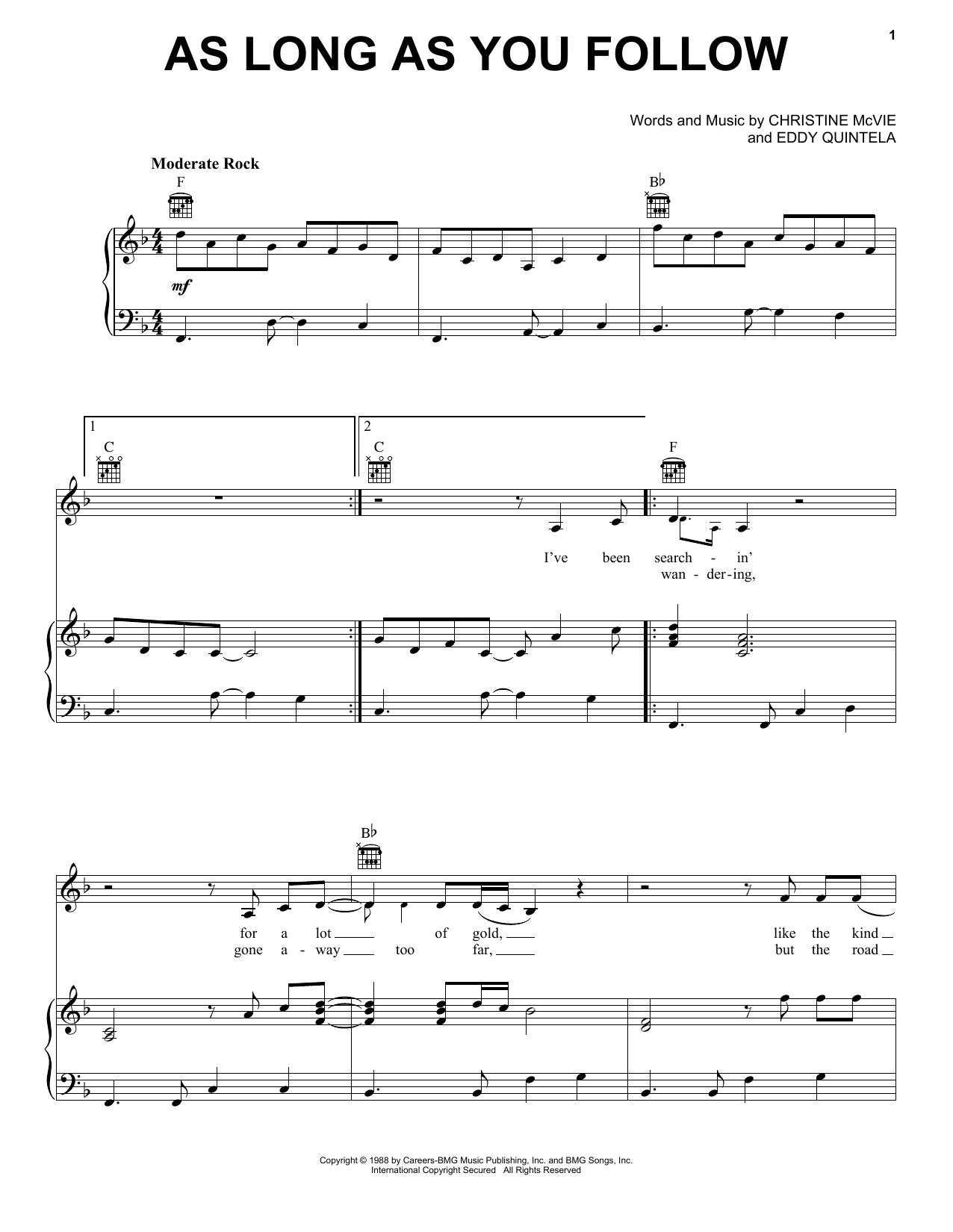 As Long As You Follow (Piano, Vocal & Guitar (Right-Hand Melody))
