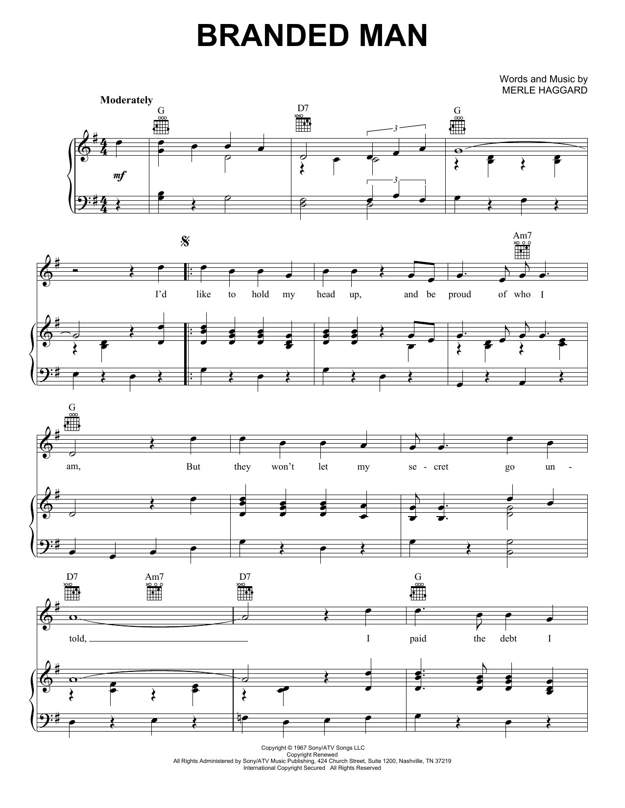 Branded Man (Piano, Vocal & Guitar (Right-Hand Melody))
