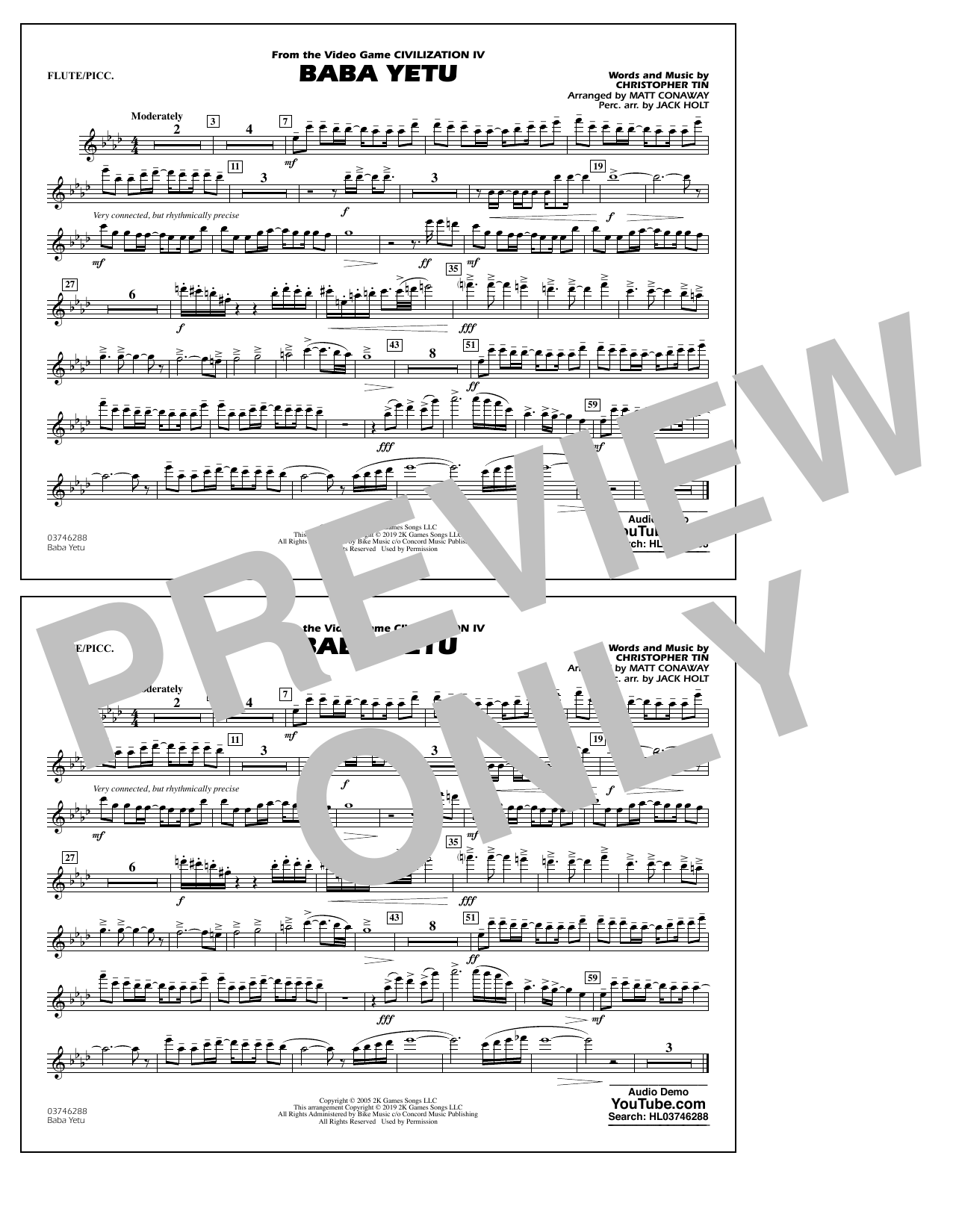 Baba Yetu (from Civilization IV) (arr. Matt Conaway) - Flute/Piccolo (Marching Band)
