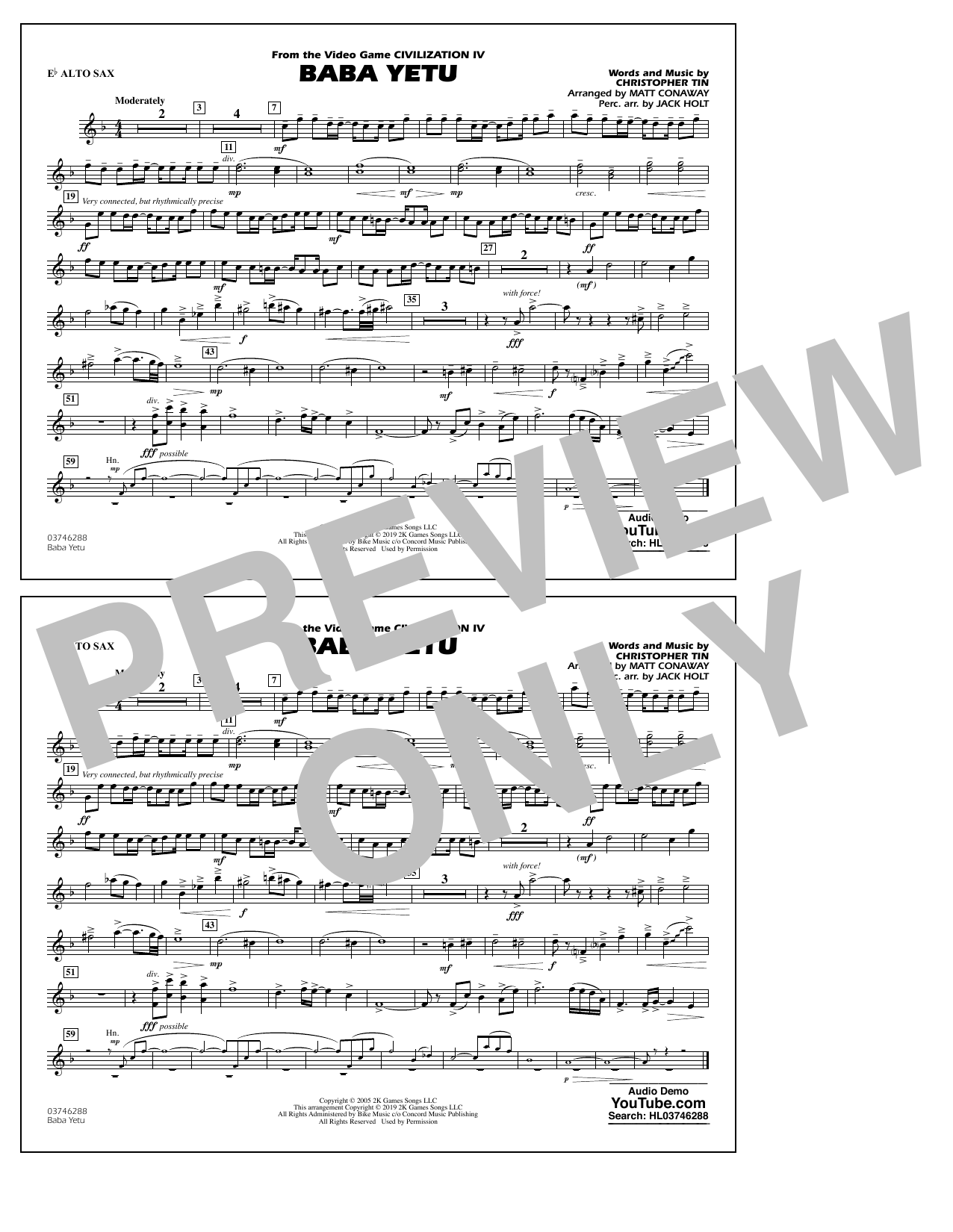 Baba Yetu (from Civilization IV) (arr. Matt Conaway) - Eb Alto Sax (Marching Band)