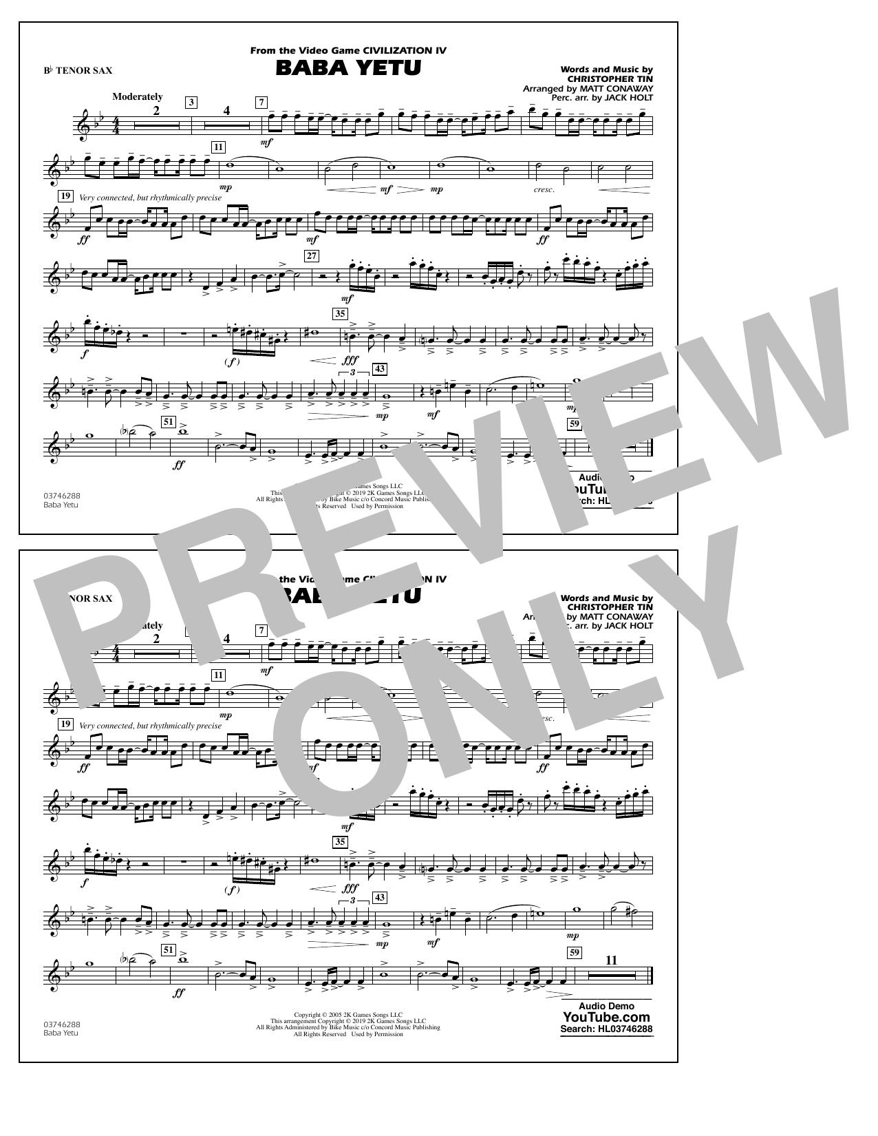 Baba Yetu (from Civilization IV) (arr. Matt Conaway) - Bb Tenor Sax (Marching Band)