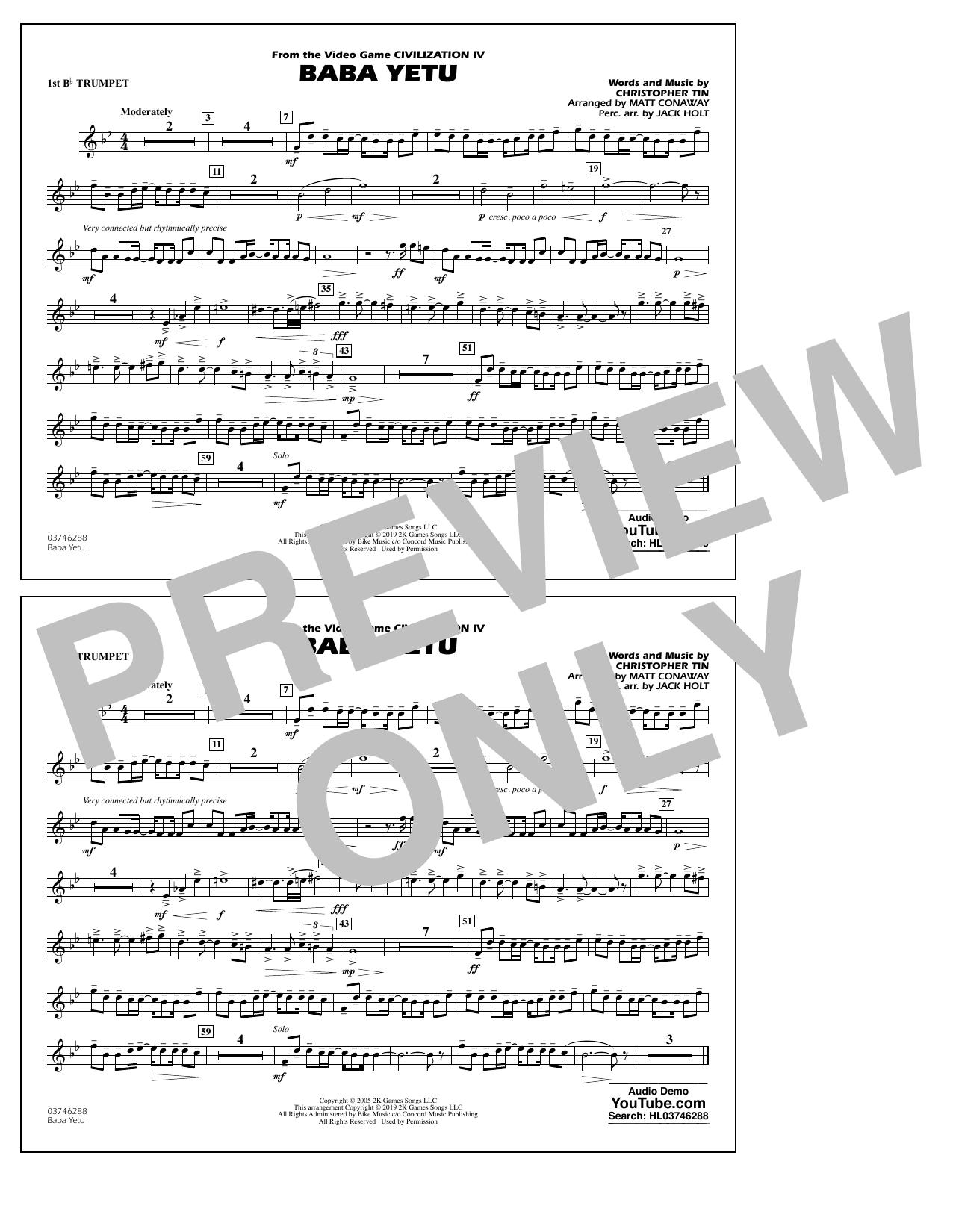 Baba Yetu (from Civilization IV) (arr. Matt Conaway) - 1st Bb Trumpet (Marching Band)