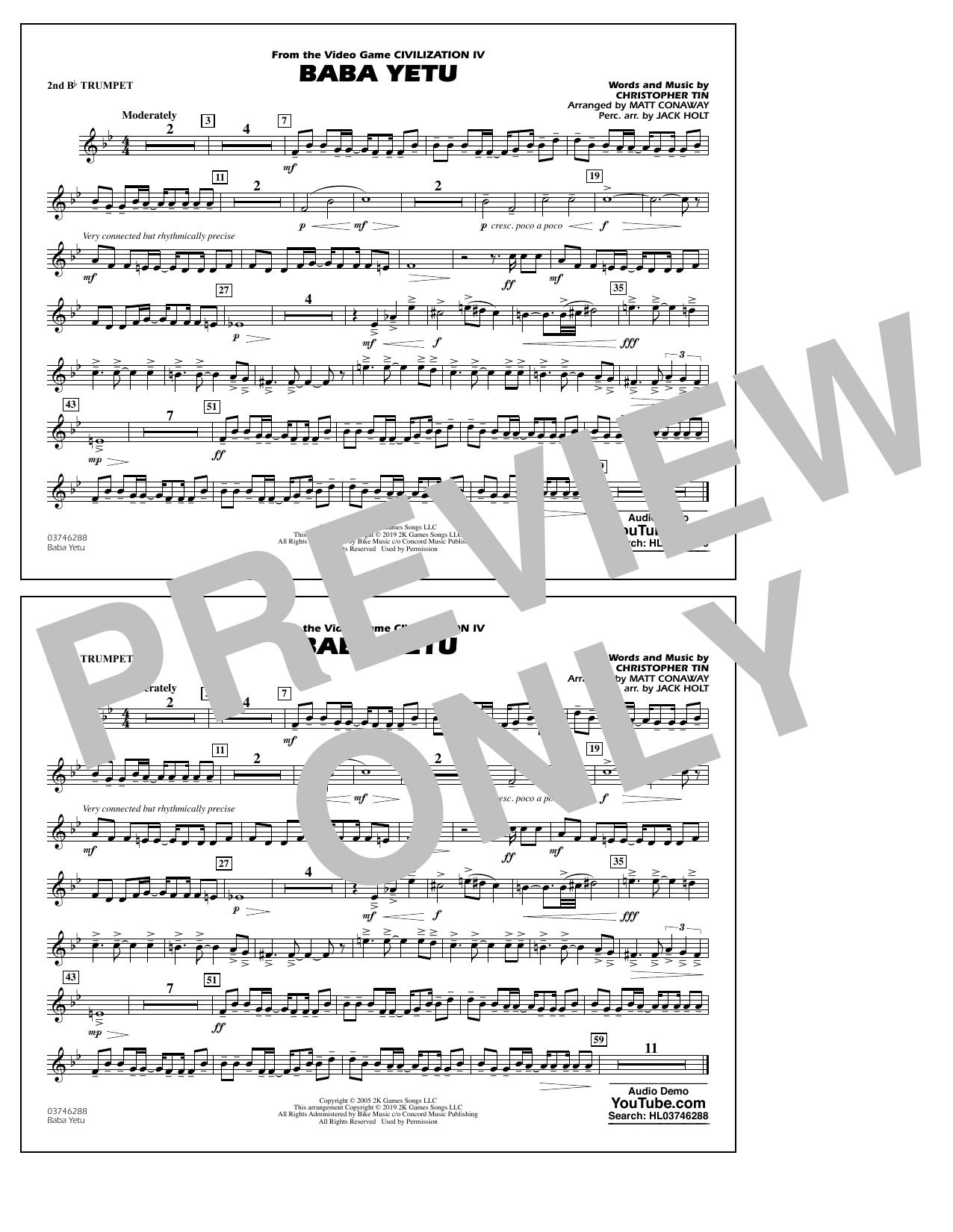 Baba Yetu (from Civilization IV) (arr. Matt Conaway) - 2nd Bb Trumpet (Marching Band)