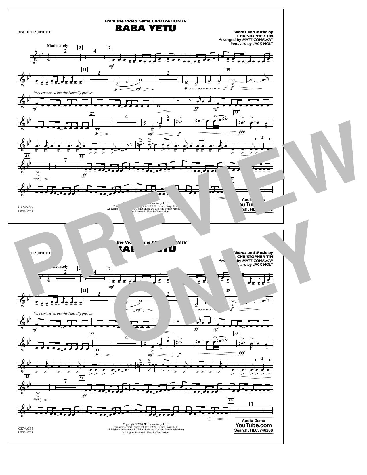 Baba Yetu (from Civilization IV) (arr. Matt Conaway) - 3rd Bb Trumpet (Marching Band)