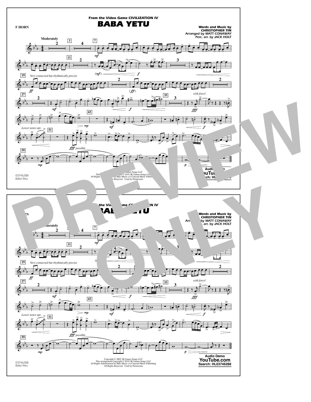 Baba Yetu (from Civilization IV) (arr. Matt Conaway) - F Horn (Marching Band)