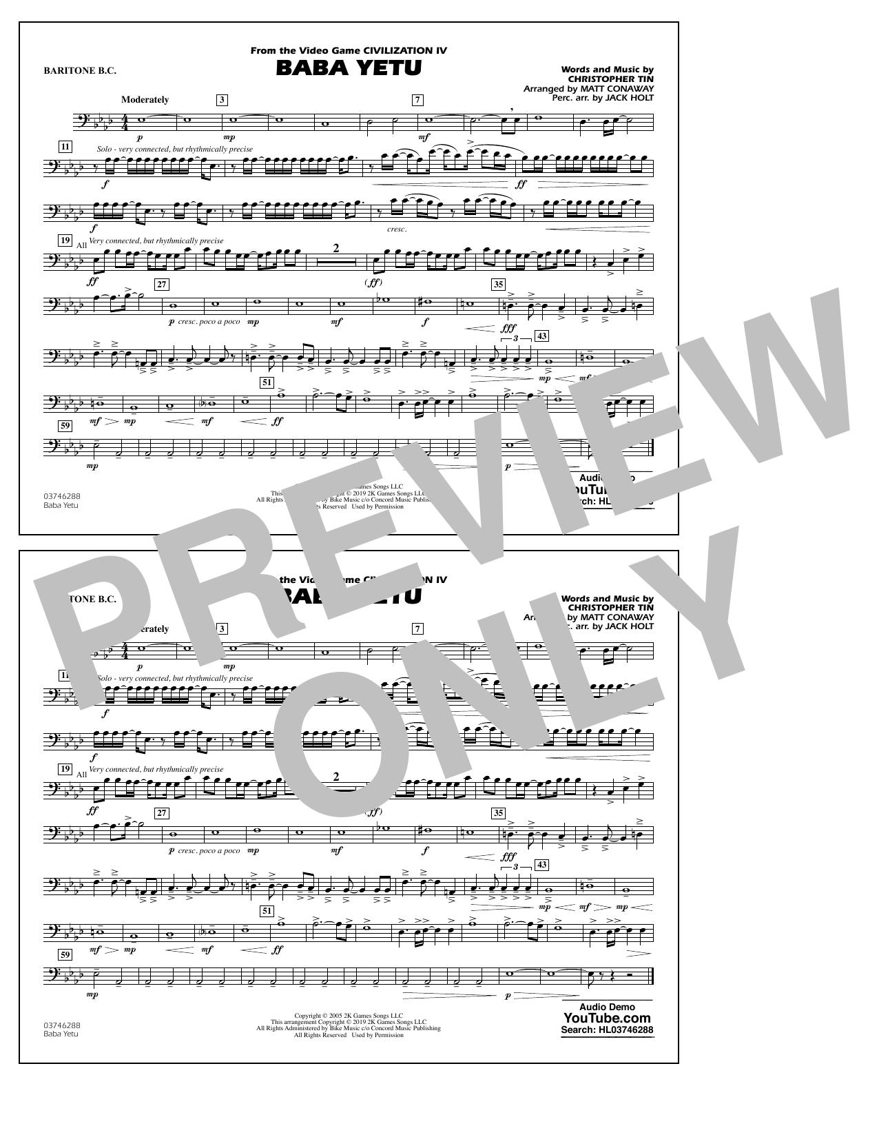 Baba Yetu (from Civilization IV) (arr. Matt Conaway) - Baritone B.C. (Marching Band)