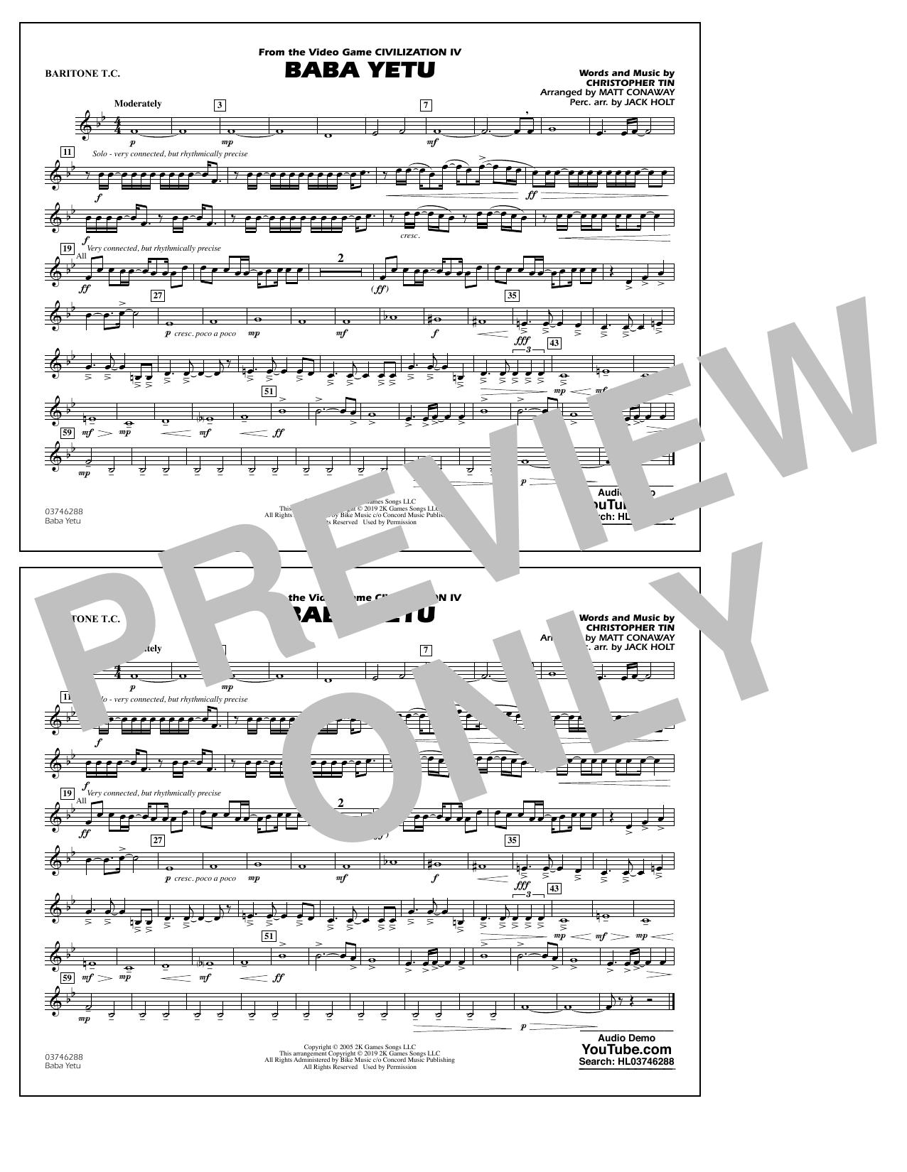 Baba Yetu (from Civilization IV) (arr. Matt Conaway) - Baritone T.C. (Marching Band)