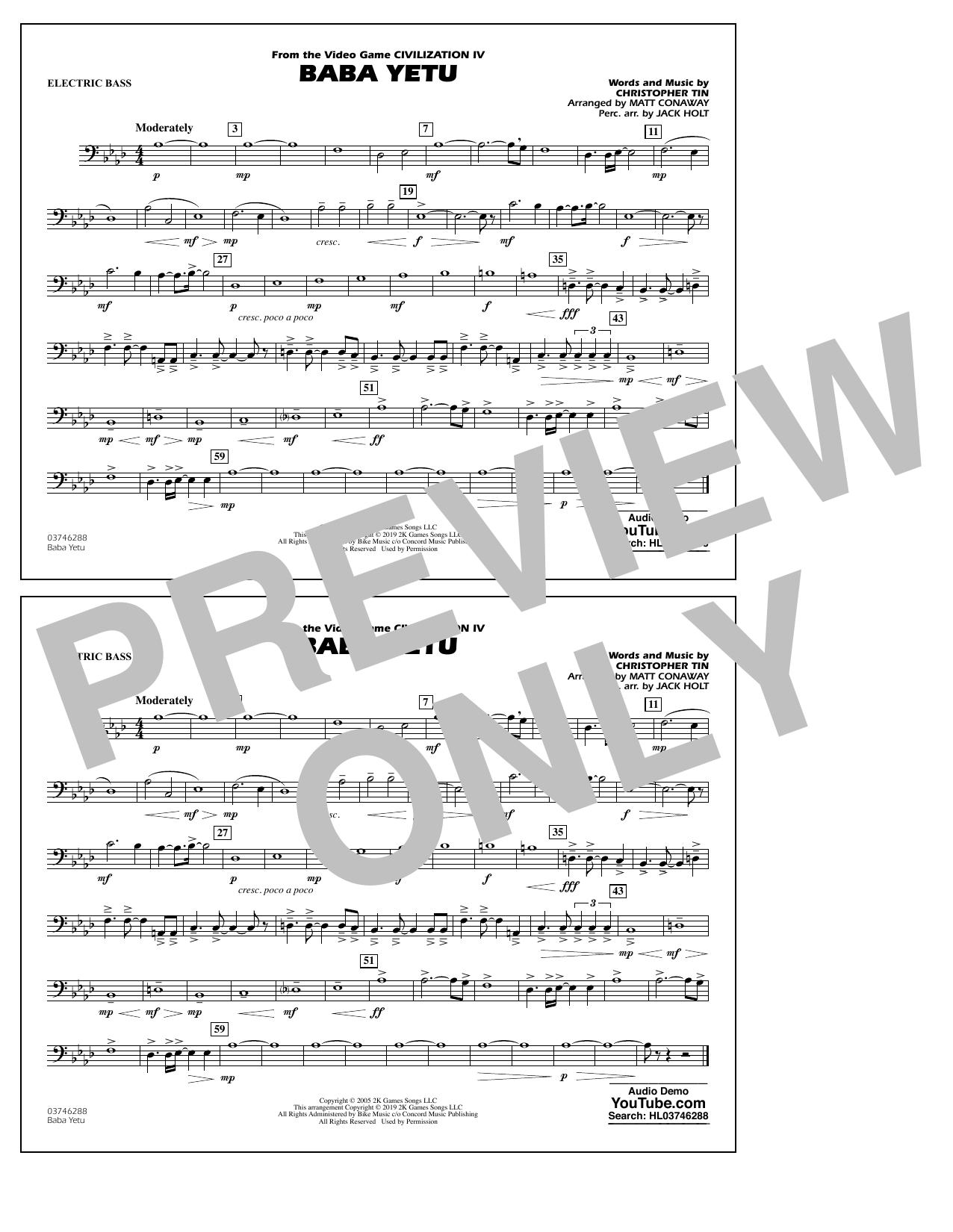 Baba Yetu (from Civilization IV) (arr. Matt Conaway) - Electric Bass (Marching Band)