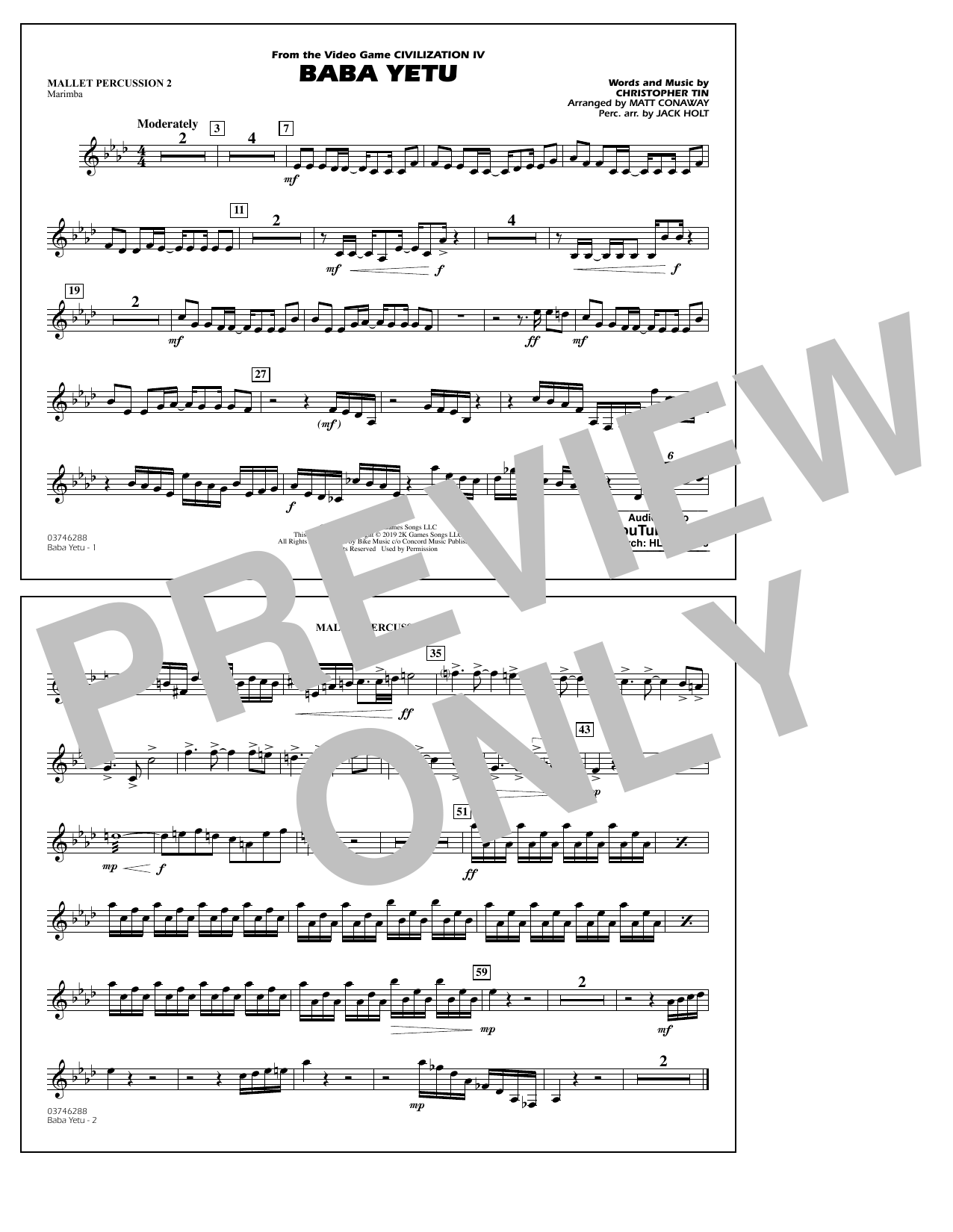 Baba Yetu (from Civilization IV) (arr. Matt Conaway) - Mallet Percussion 2 (Marching Band)