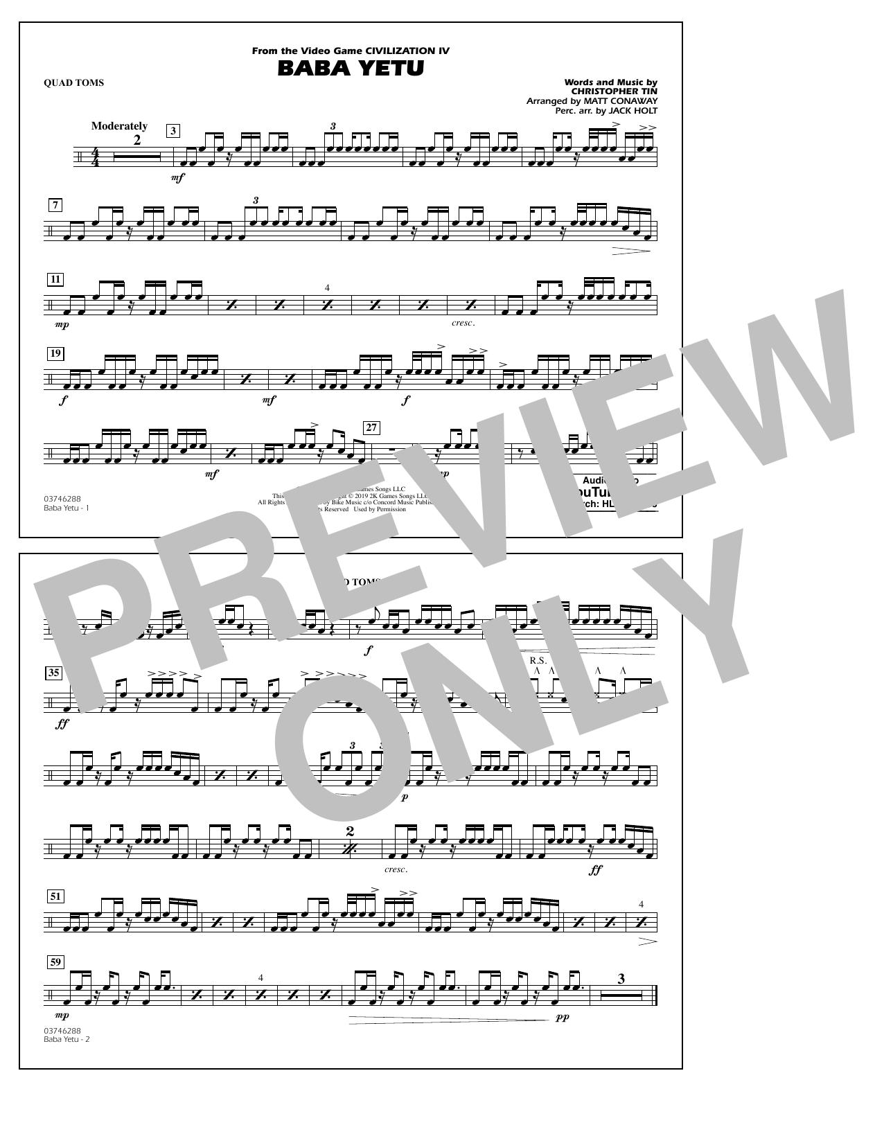Baba Yetu (from Civilization IV) (arr. Matt Conaway) - Quad Toms (Marching Band)