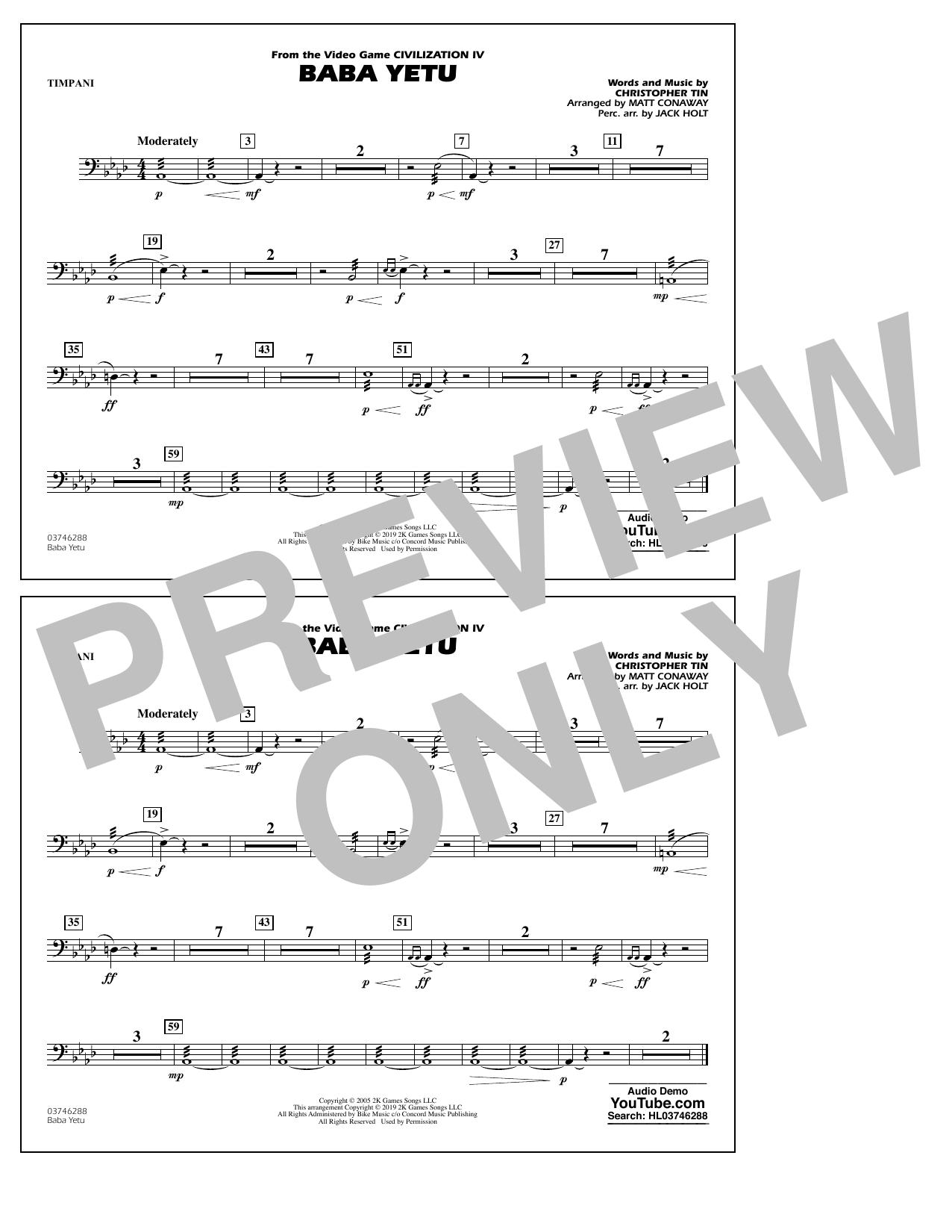 Baba Yetu (from Civilization IV) (arr. Matt Conaway) - Timpani (Marching Band)