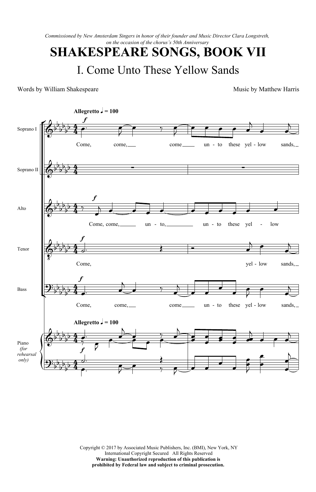 Come Unto These Yellow Sands (SATB Choir)
