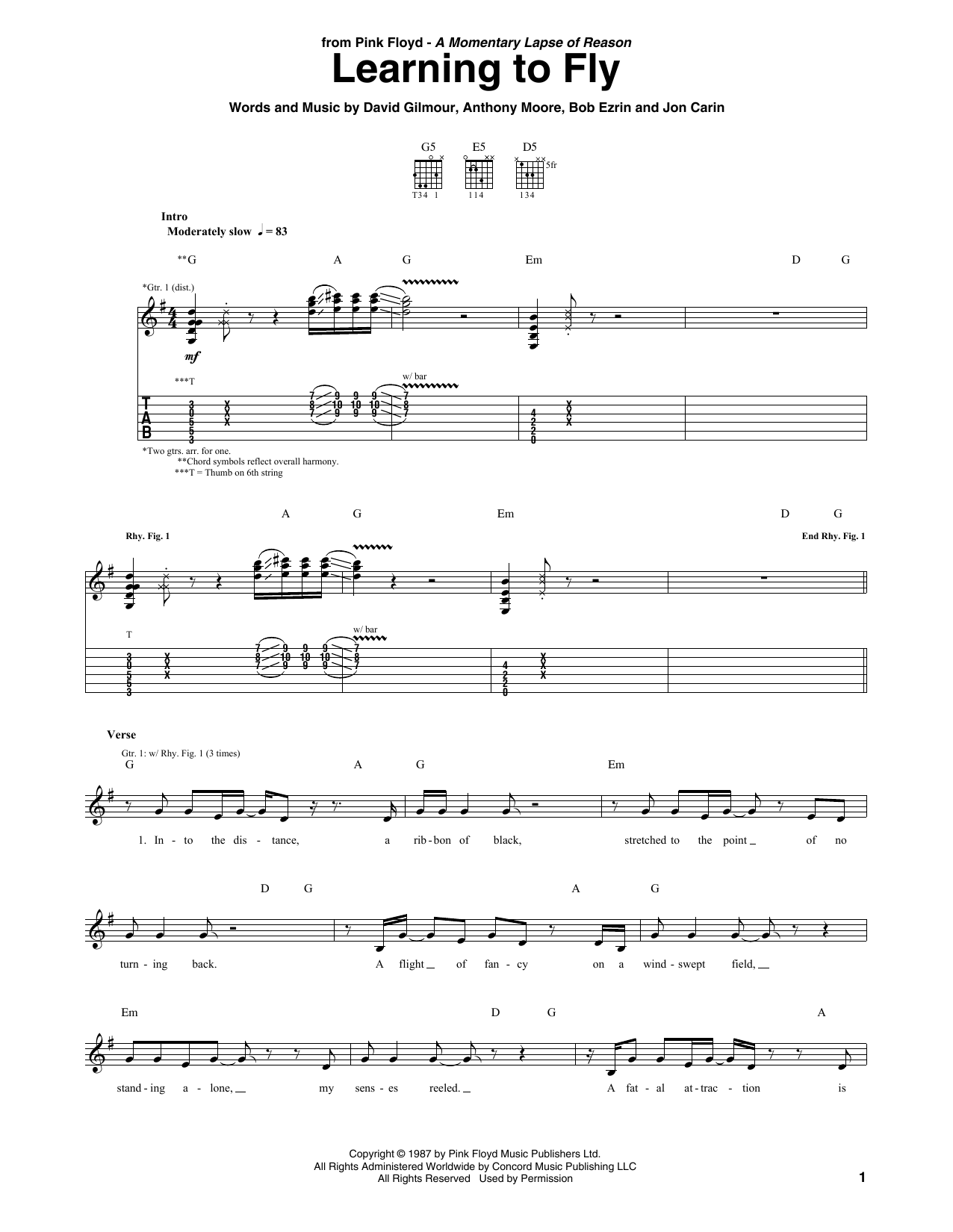 pink floyd learning to fly sheet music. Black Bedroom Furniture Sets. Home Design Ideas