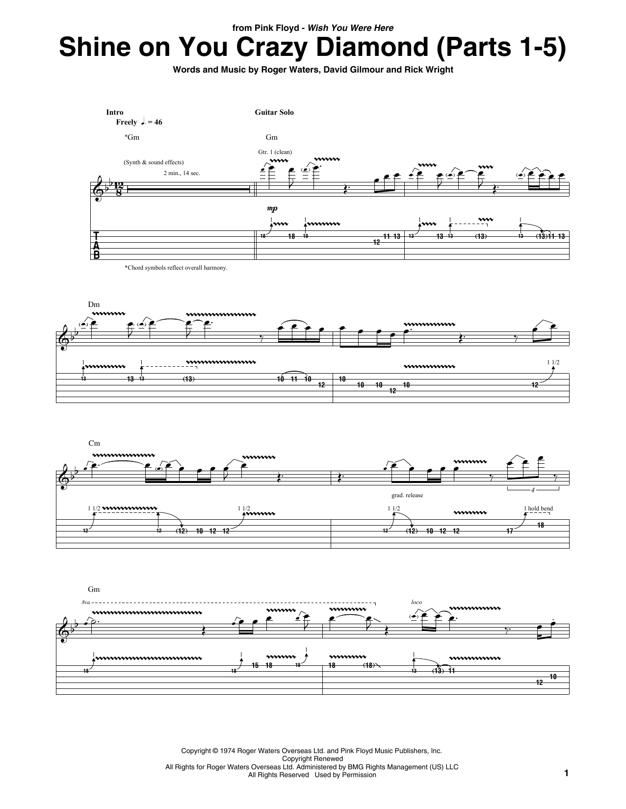 Shine On You Crazy Diamond (Parts 1-5) (Guitar Tab)