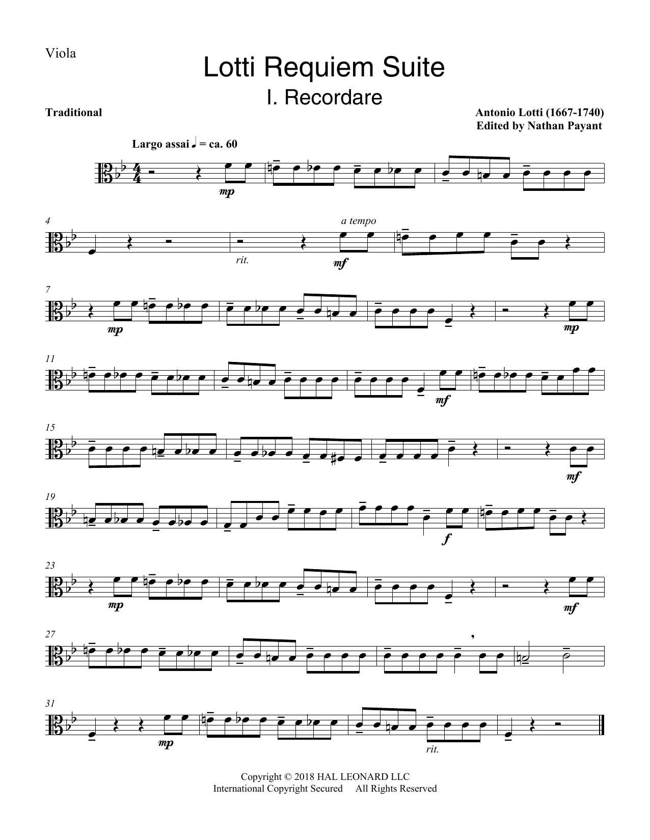 Lotti Requiem Suite (arr. Natahn Payant) - Viola (Choir Instrumental Pak)