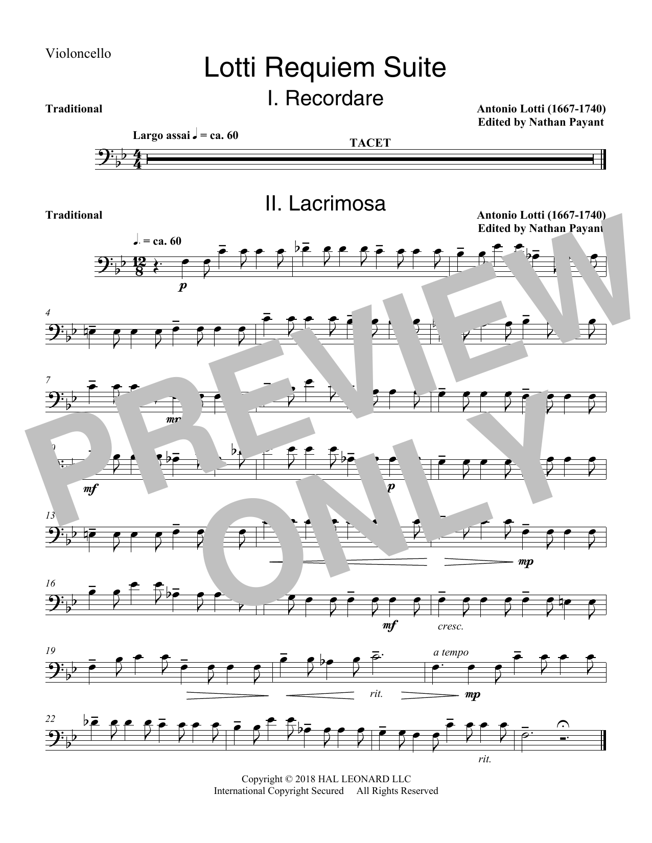 Lotti Requiem Suite (arr. Natahn Payant) - Cello (Choir Instrumental Pak)